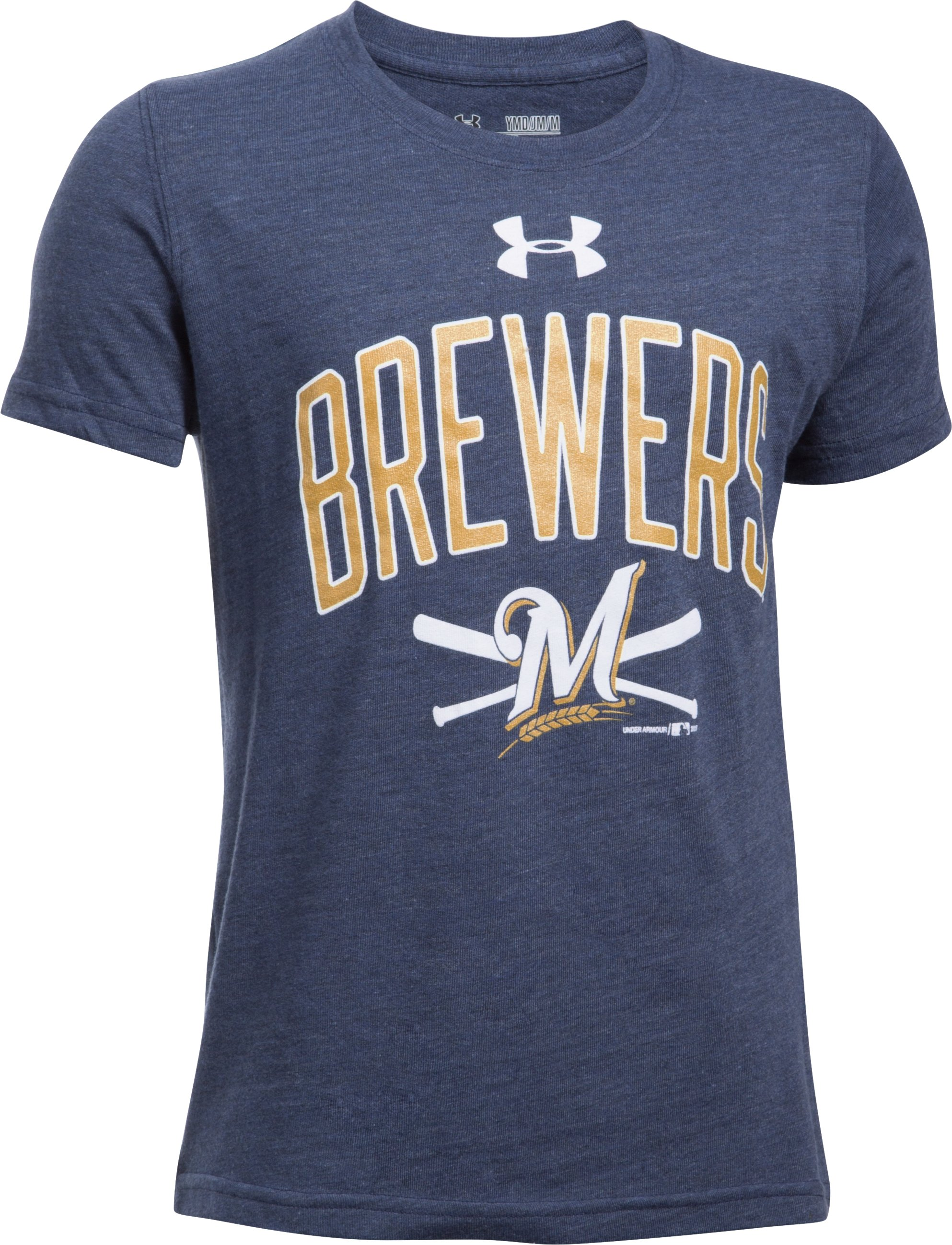Boys' Milwaukee Brewers Tri-Blend T-Shirt, Midnight Navy,