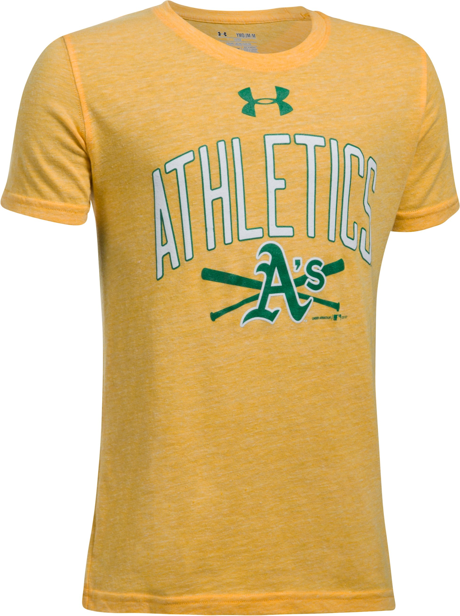 Boys' Oakland Athletics Tri-Blend T-Shirt, Steeltown Gold