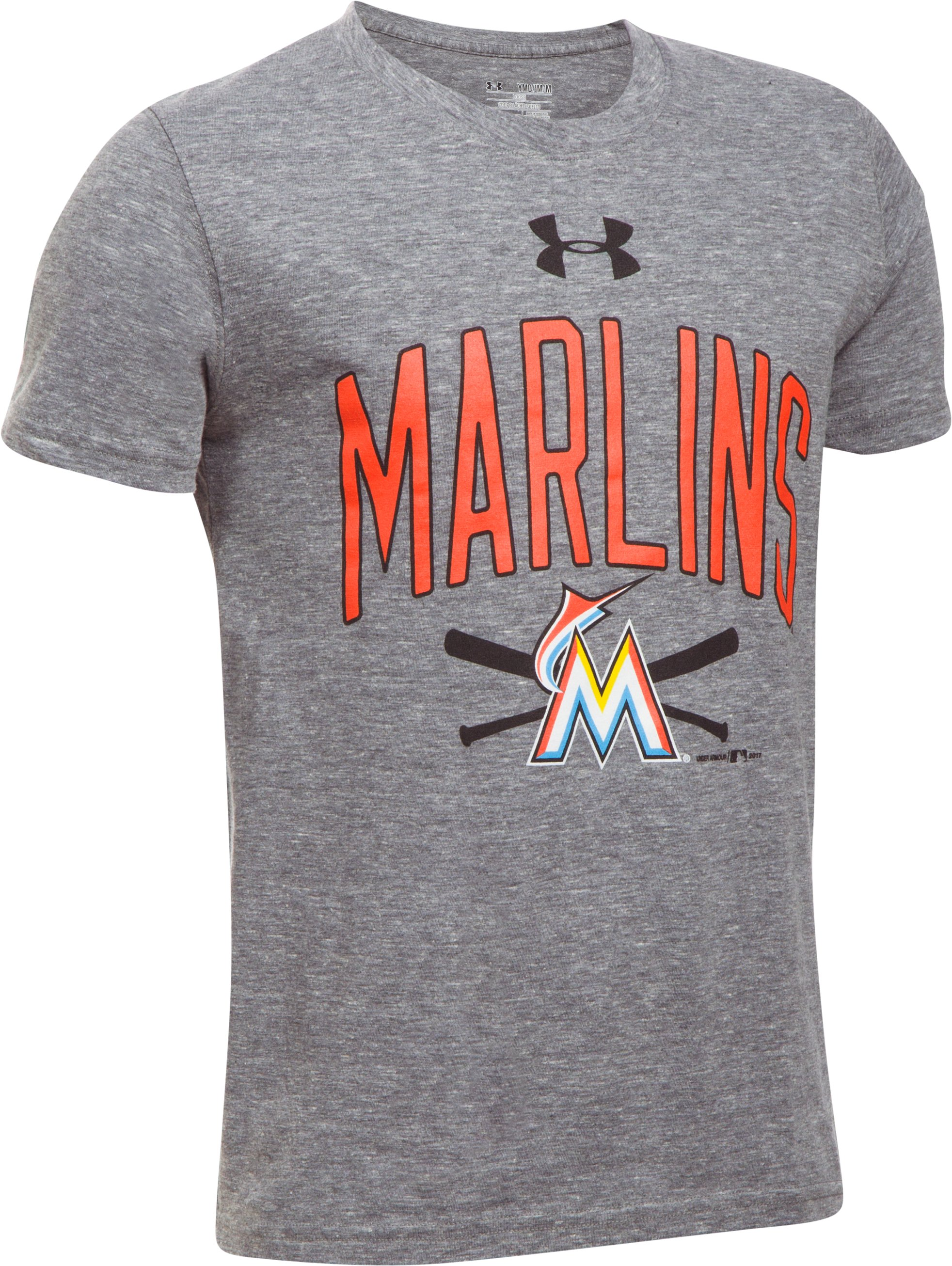 Boys' Miami Marlins Tri-Blend T-Shirt, True Gray Heather,
