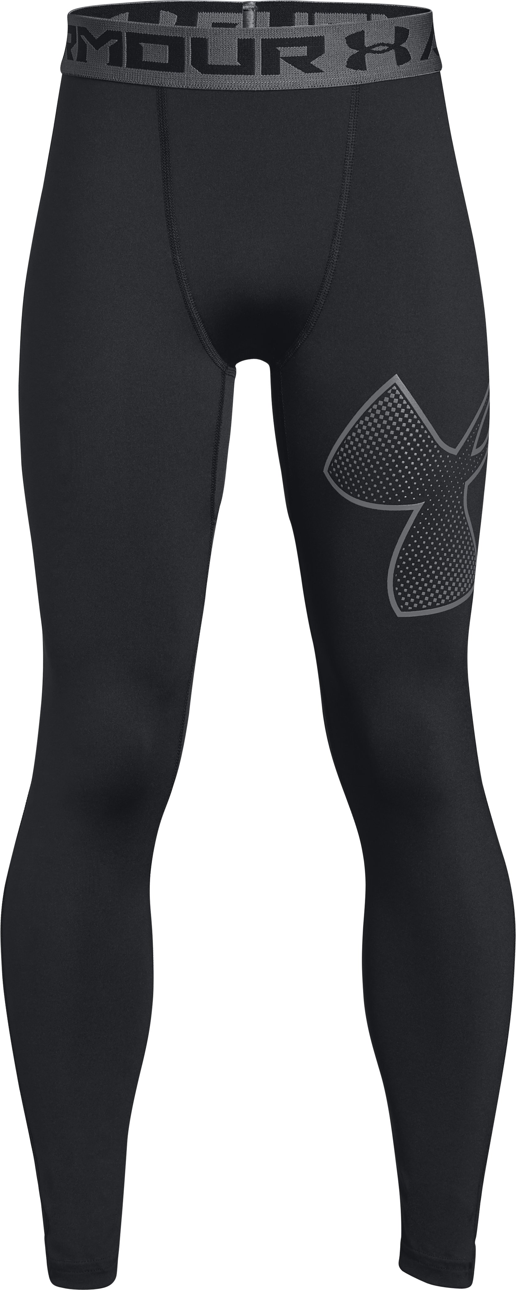 Boys' HeatGear® Armour Logo Leggings, Black ,