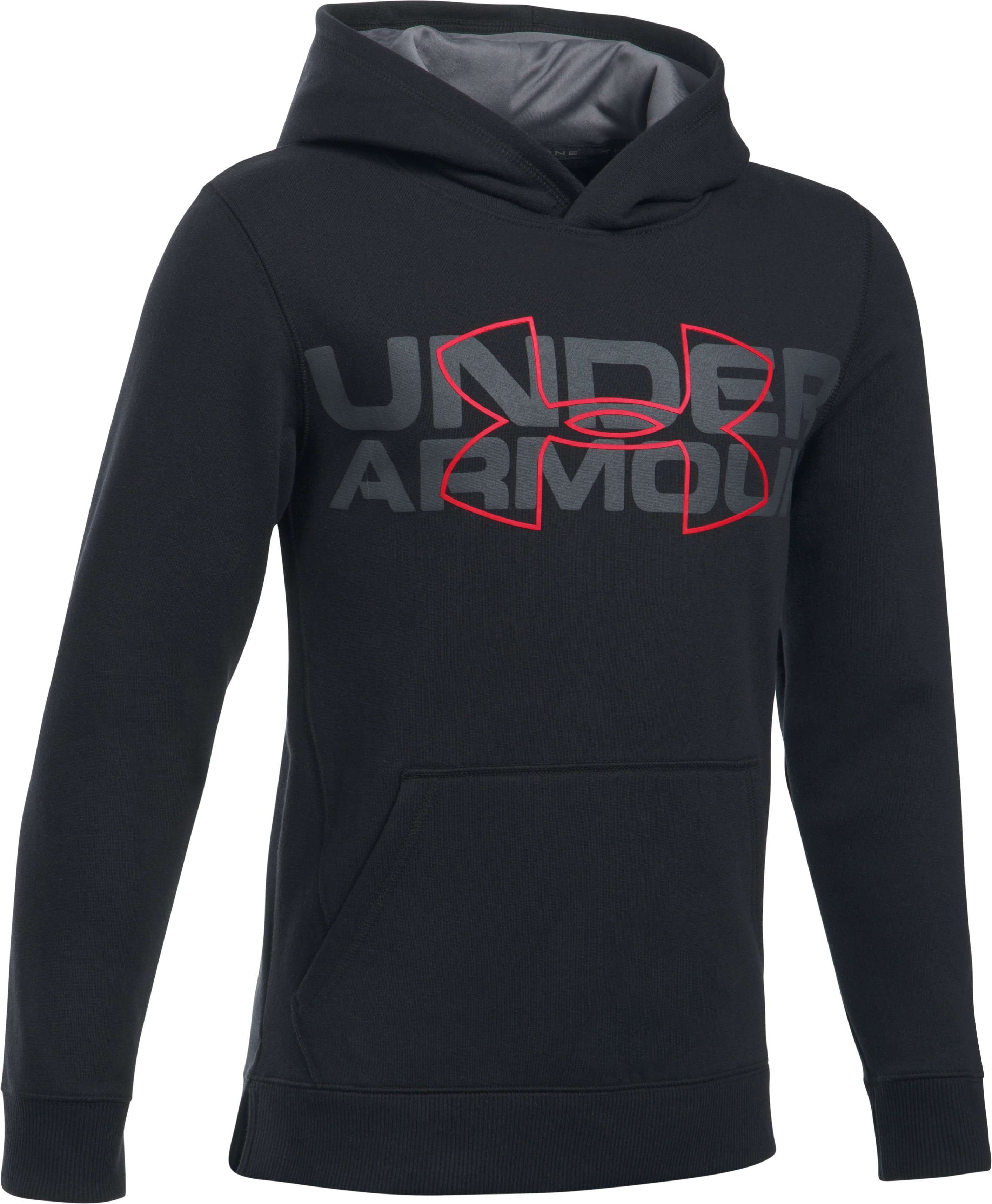 Boys' UA Threadborne™ Logo Hoodie, Black , undefined
