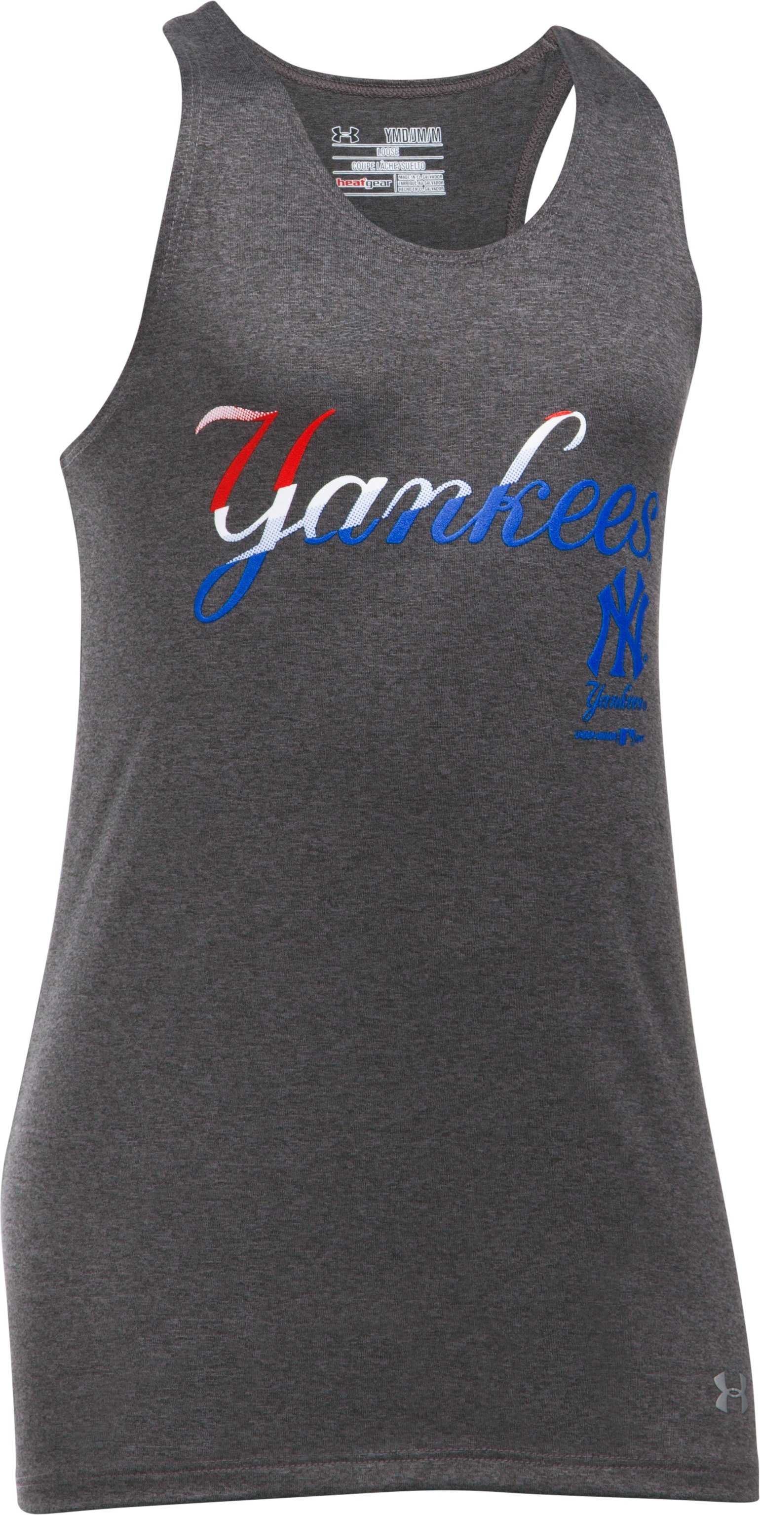 Girls' New York Yankees UA Tech™ 4th Of July Tank, Carbon Heather, undefined