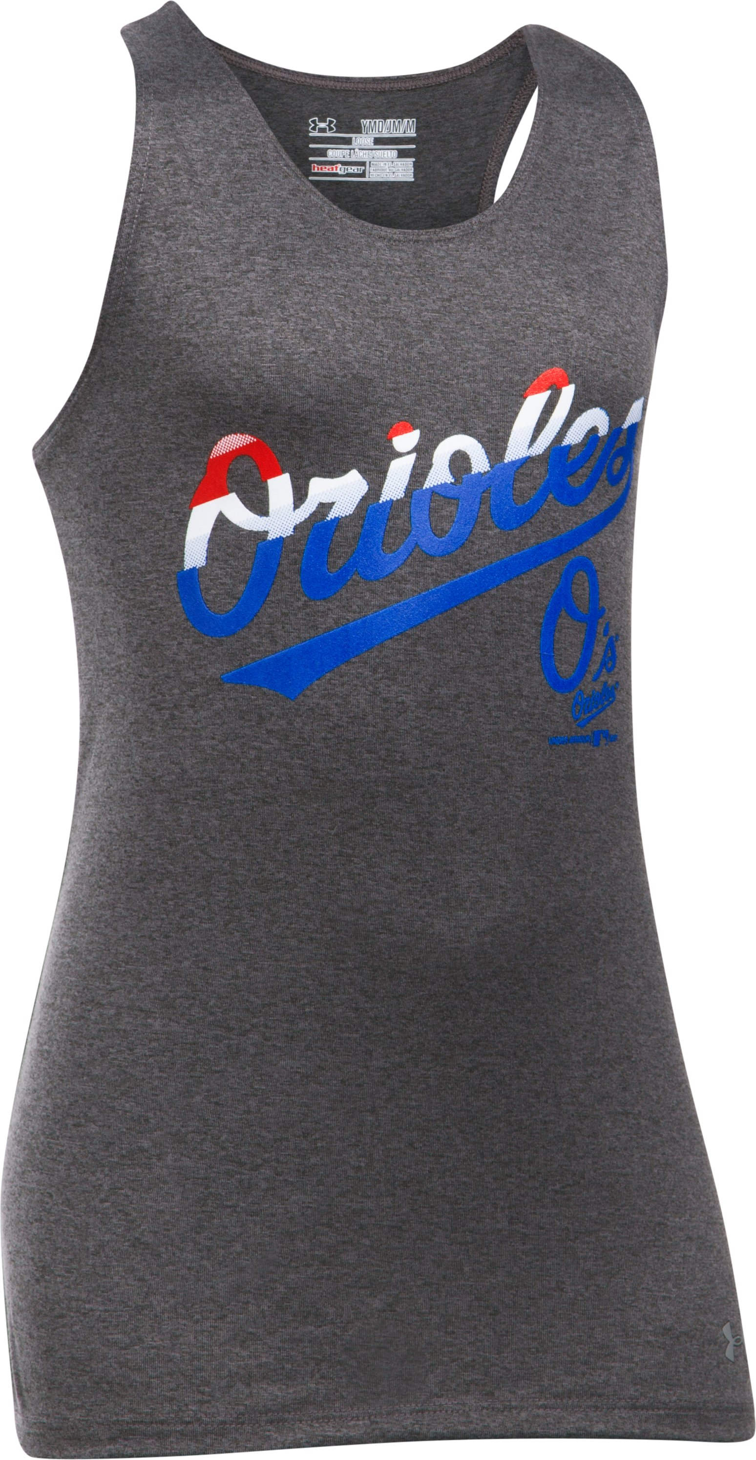 Girls' Baltimore Orioles UA Tech™ 4th Of July Tank, Carbon Heather,