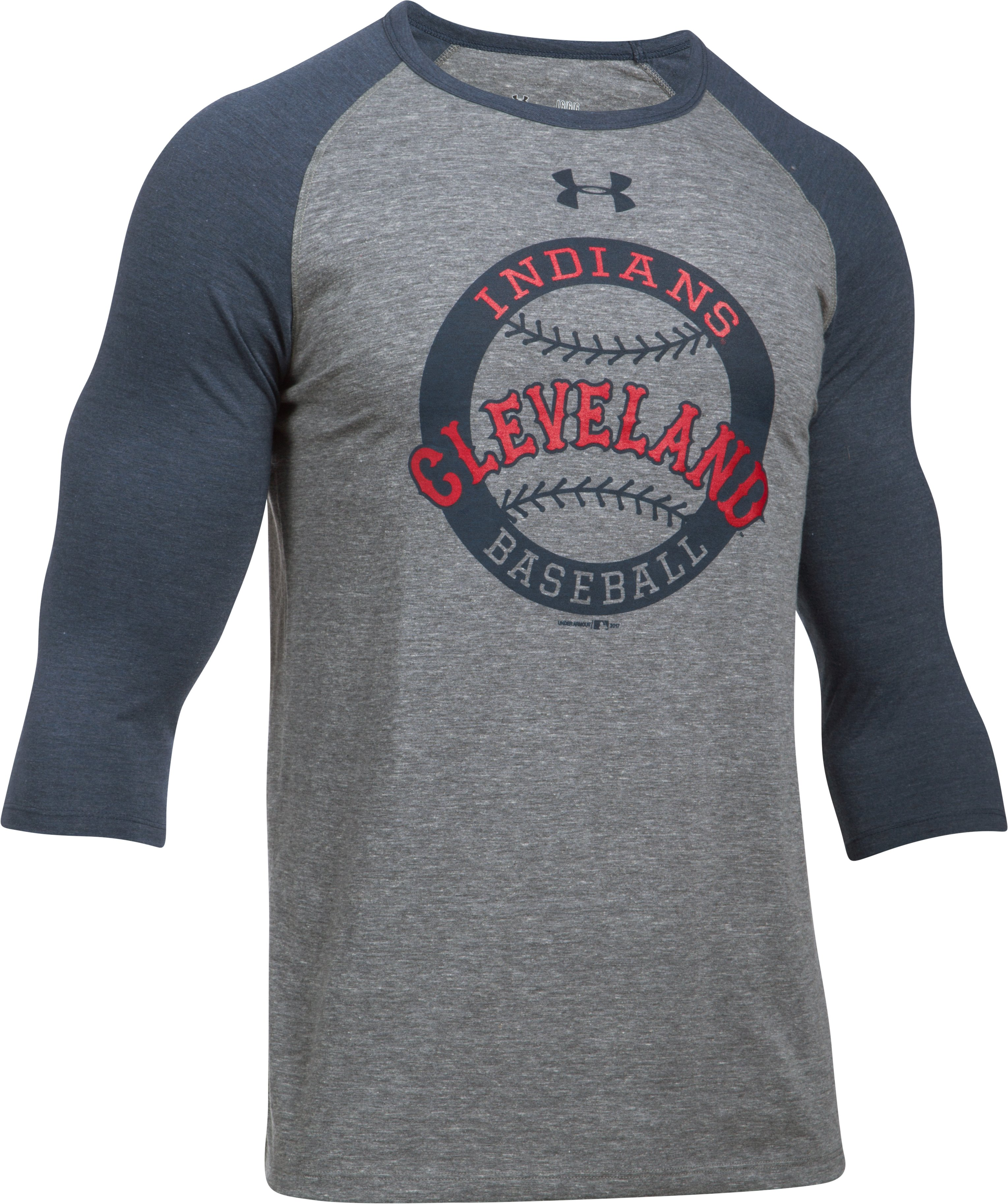Men's Cleveland Indians ¾ Sleeve T-Shirt, Midnight Navy,