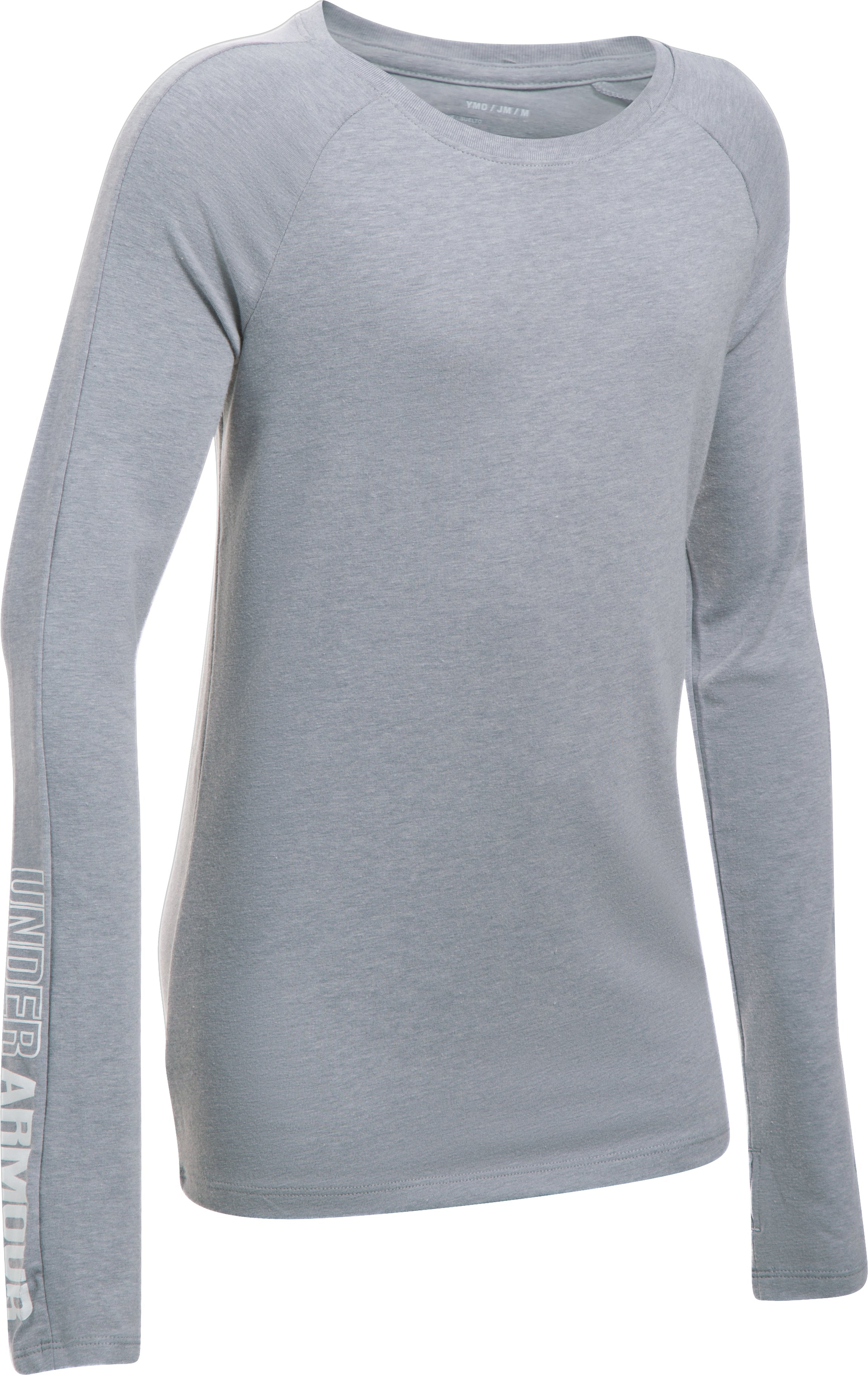 Girls' UA Favorite Knit Long Sleeve, STEEL LIGHT HEATHER,