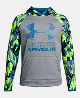 New to Outlet Boys' Armour Fleece® Printed Big Logo Hoodie LIMITED TIME ONLY 6  Colors Available $31.49