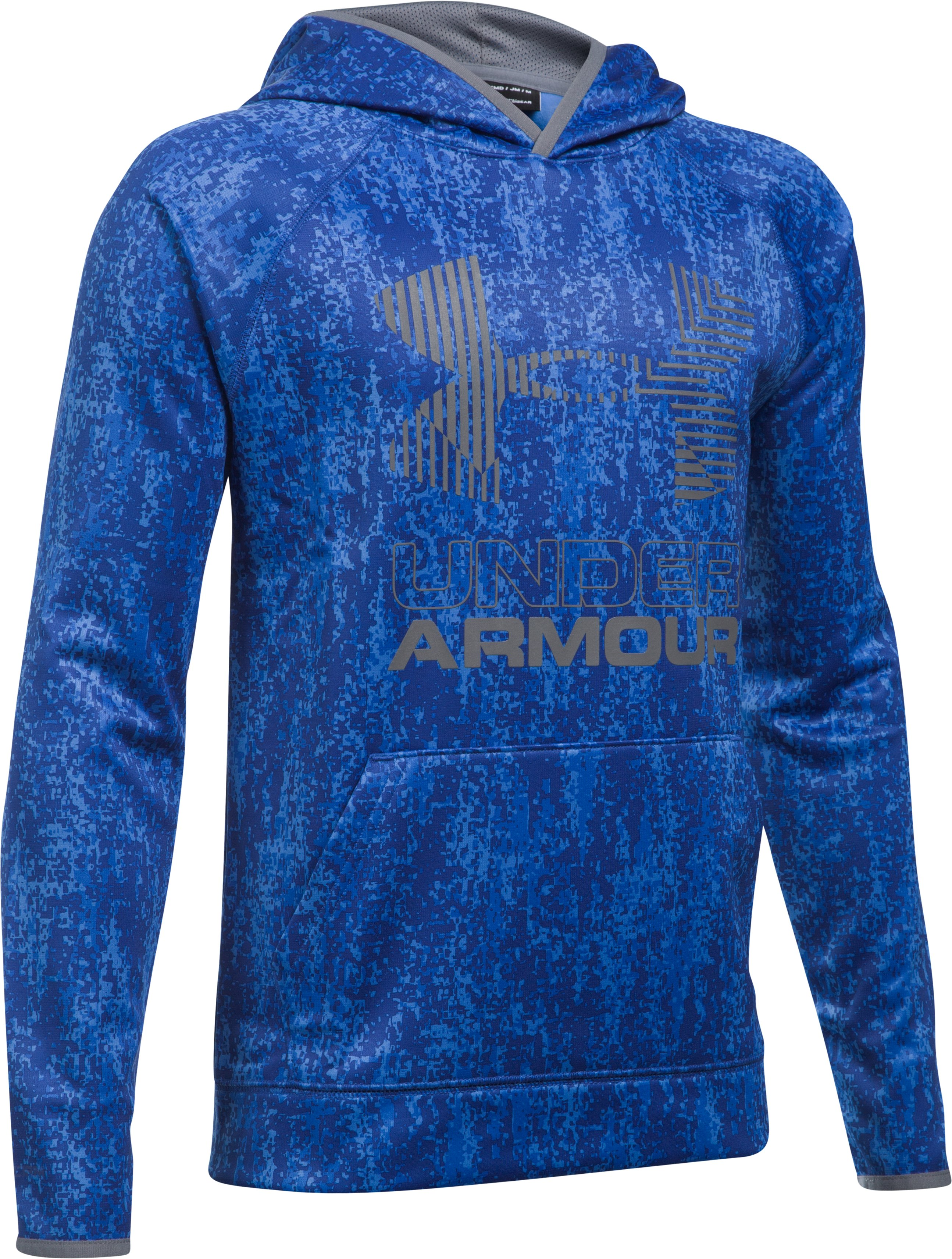 Boys' Armour Fleece® Printed Big Logo Hoodie, ULTRA BLUE, undefined