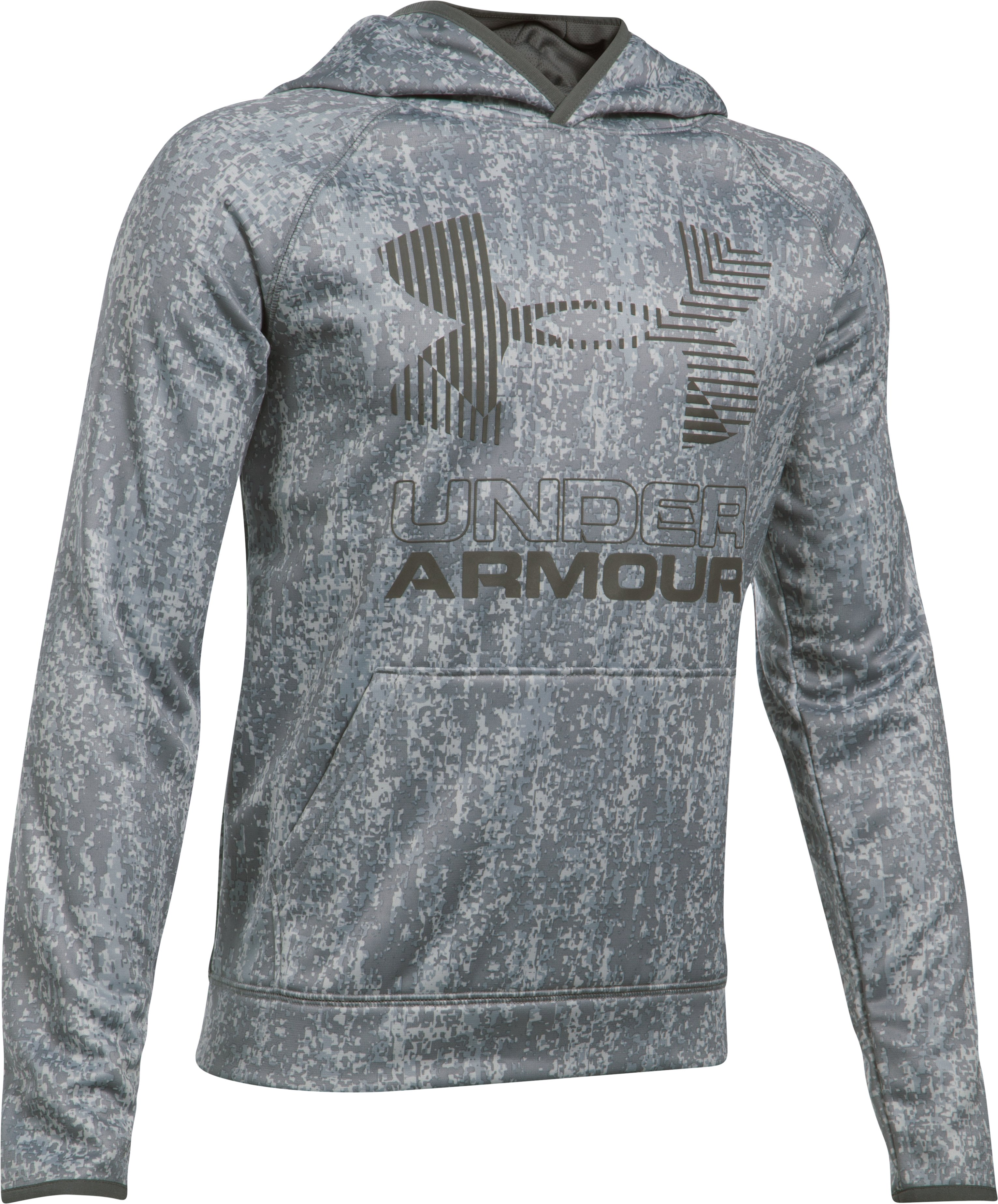 Boys' Armour Fleece® Printed Big Logo Hoodie, OVERCAST GRAY, undefined