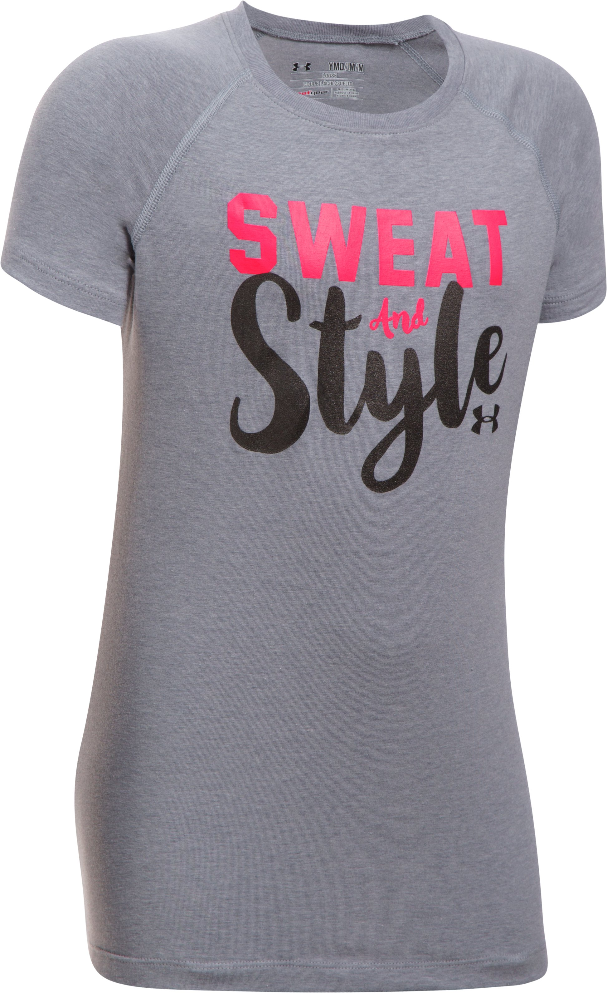 Girls' UA Sweat & Style T-Shirt, STEEL LIGHT HEATHER