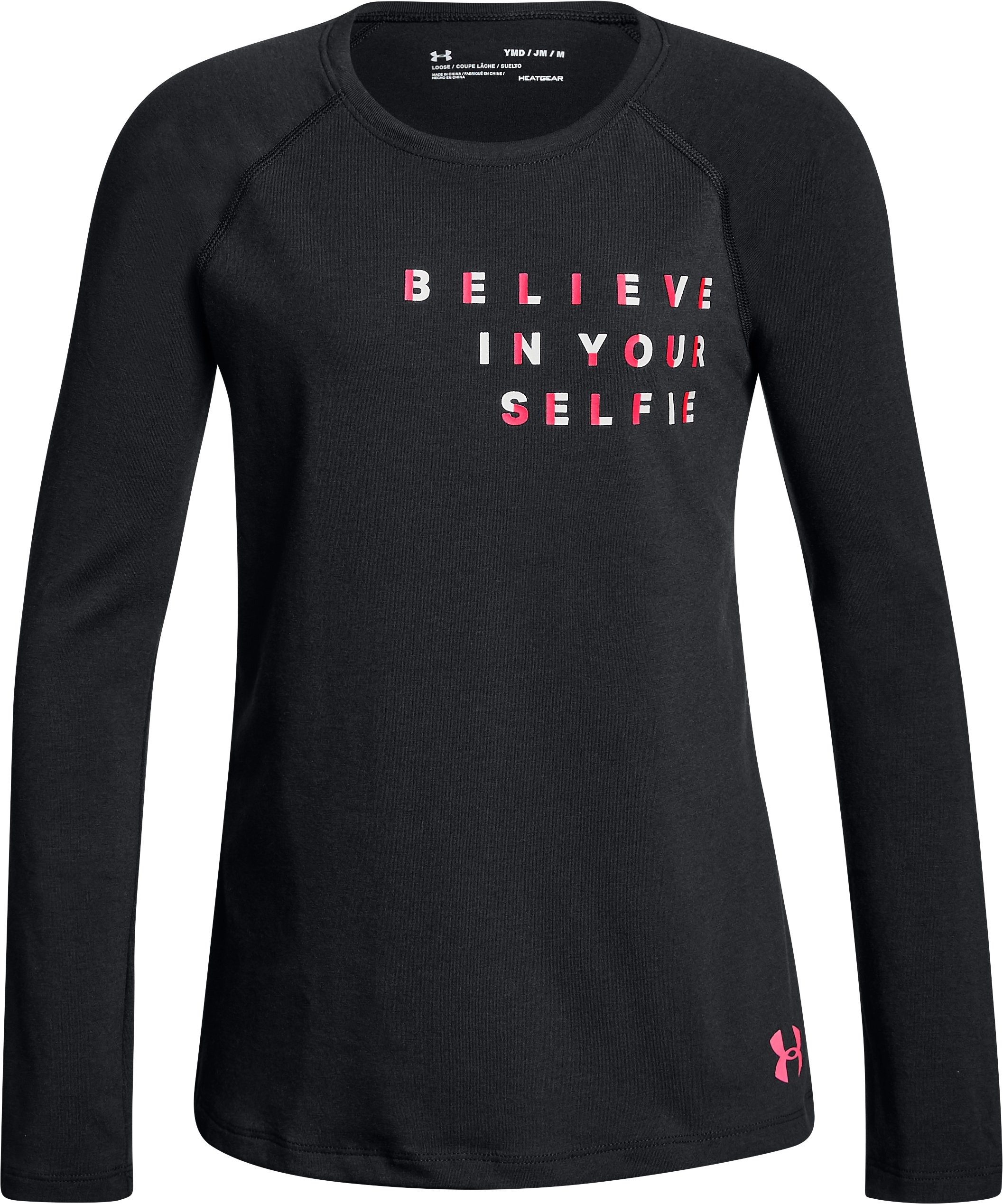 Girls' UA Believe In Your Selfie Long Sleeve, Black