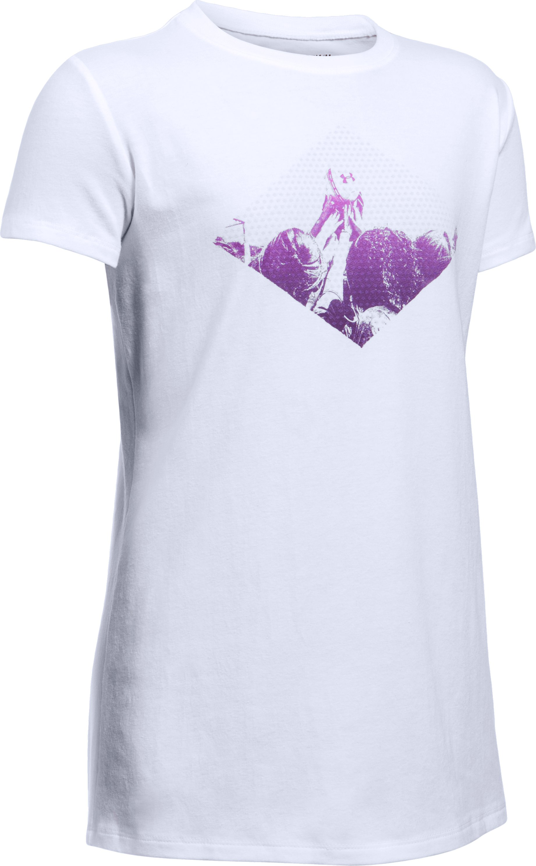 She Plays We Win UA Soccer T-Shirt, White