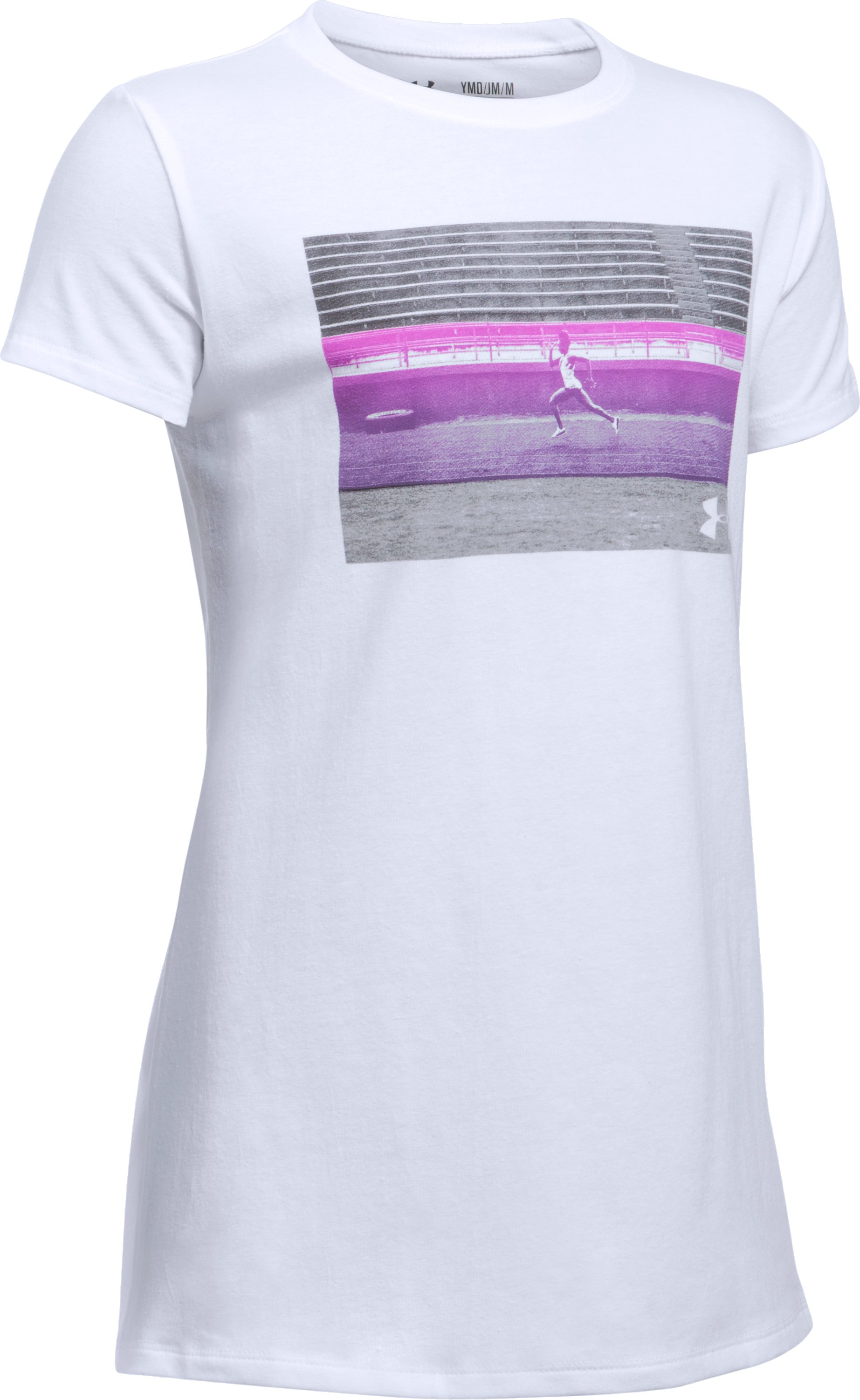 She Plays We Win UA Track T-Shirt, White,