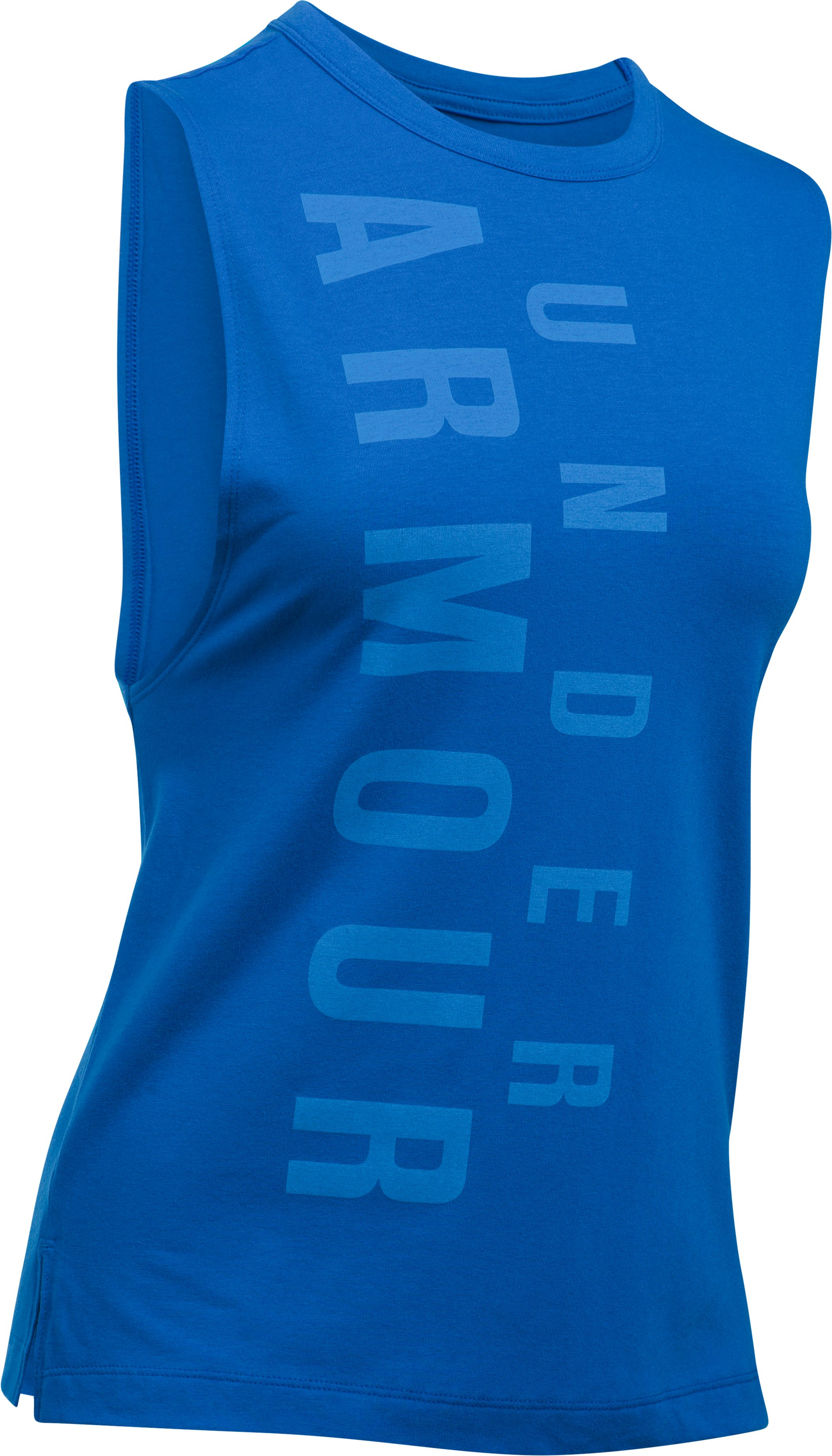 Women's UA Exploded Wordmark Muscle Tank, LAPIS BLUE, undefined