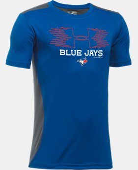 New Arrival  Boys' Toronto Blue Jays UA Tech™ Blocked T-Shirt  1 Color $30.99