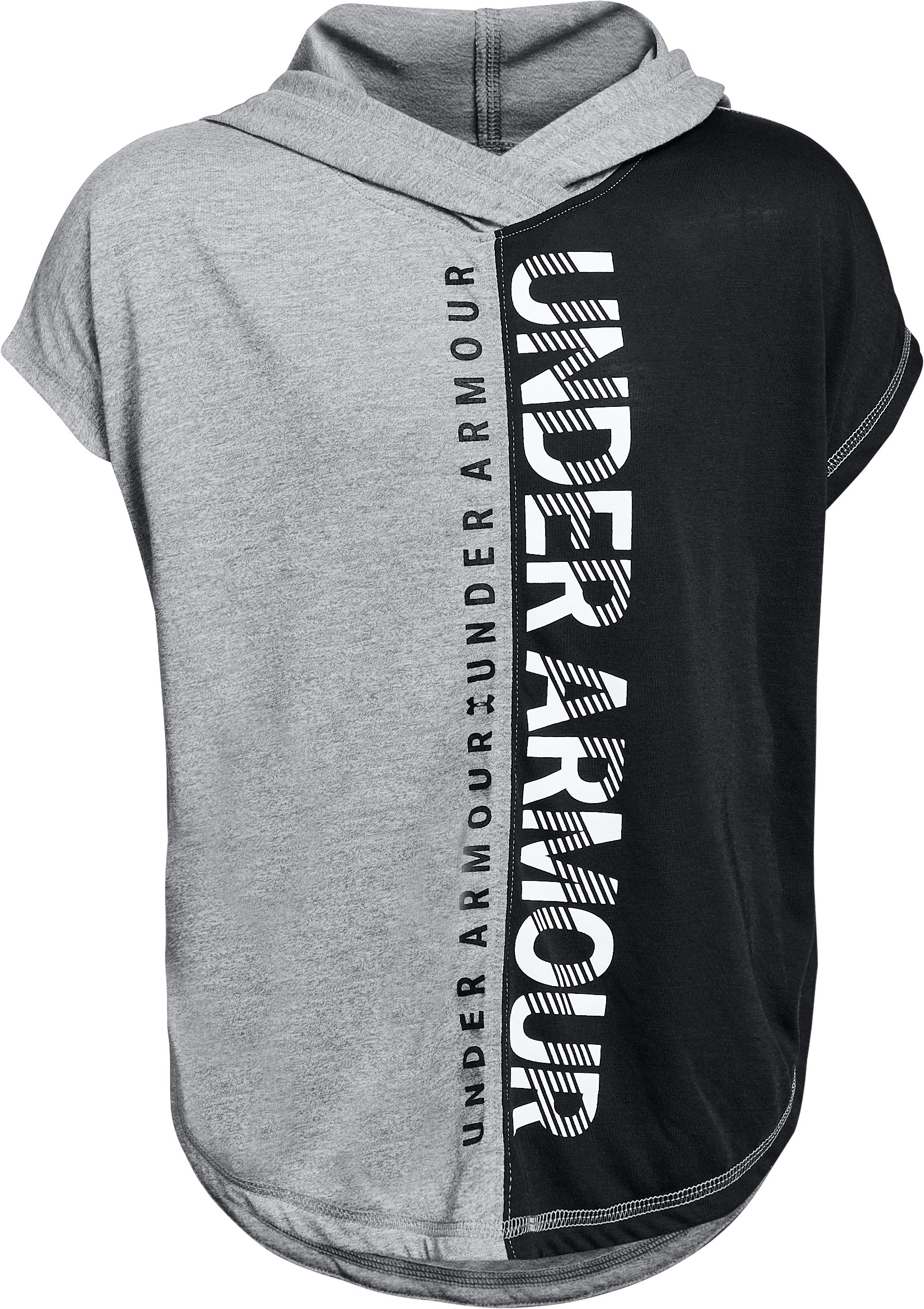Girls' UA Siro Short Sleeve Hoodie, STEEL FADE HEATHER,