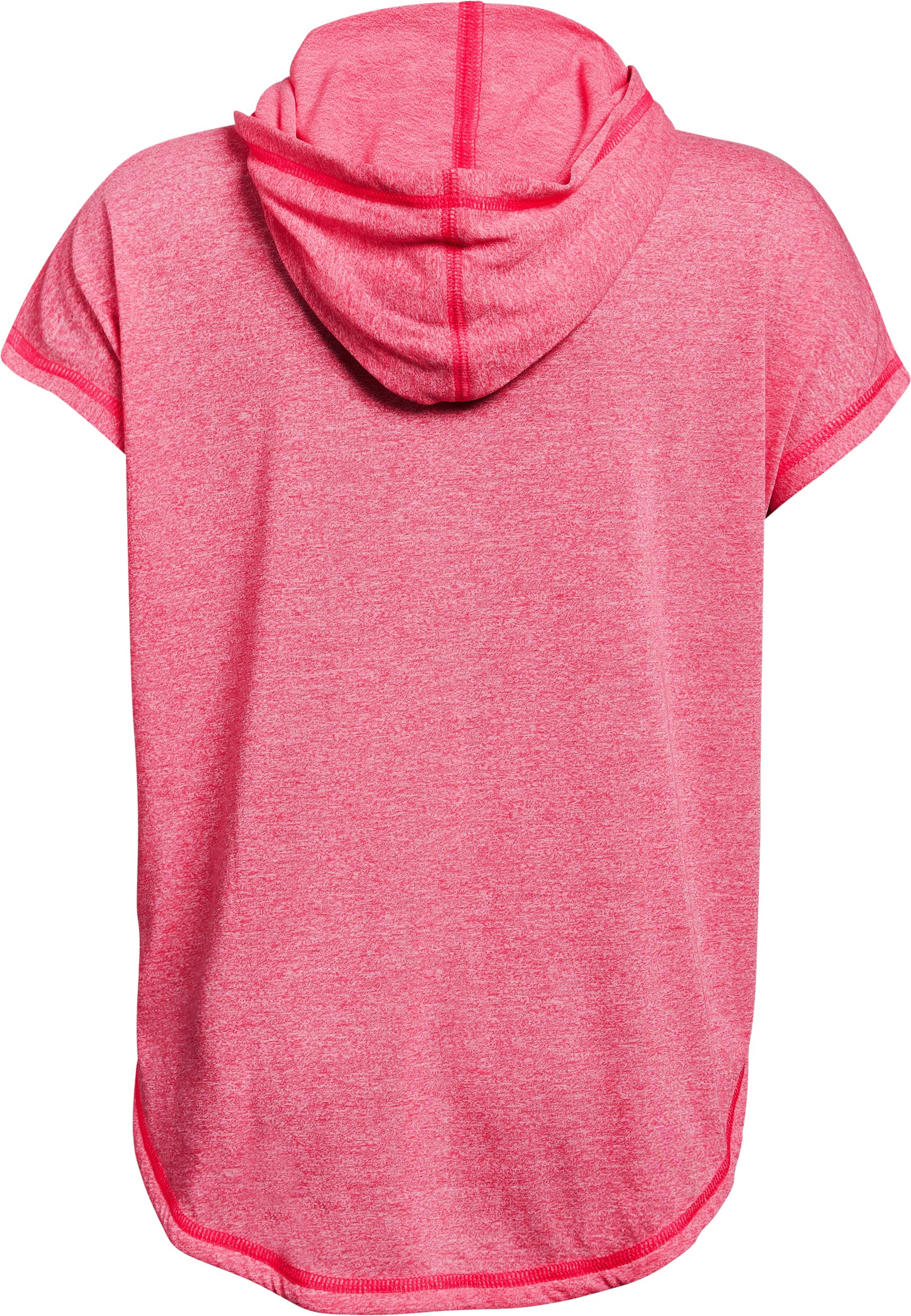 Girls' UA Siro Short Sleeve Hoodie, PENTA PINK FADE HEATHER,