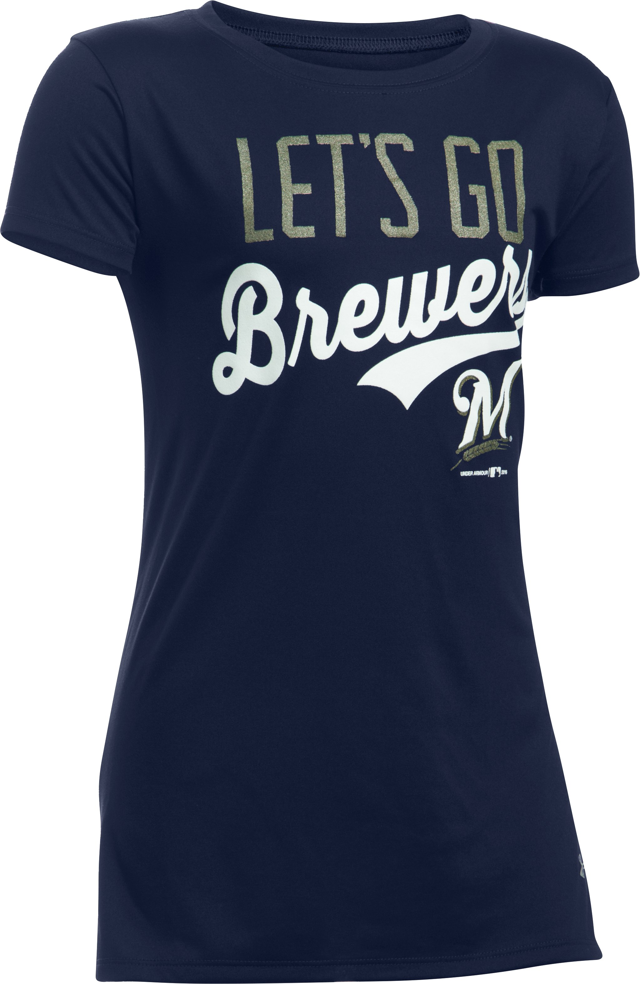 Girls' Milwaukee Brewers UA Tech™ T-Shirt, Midnight Navy, zoomed image