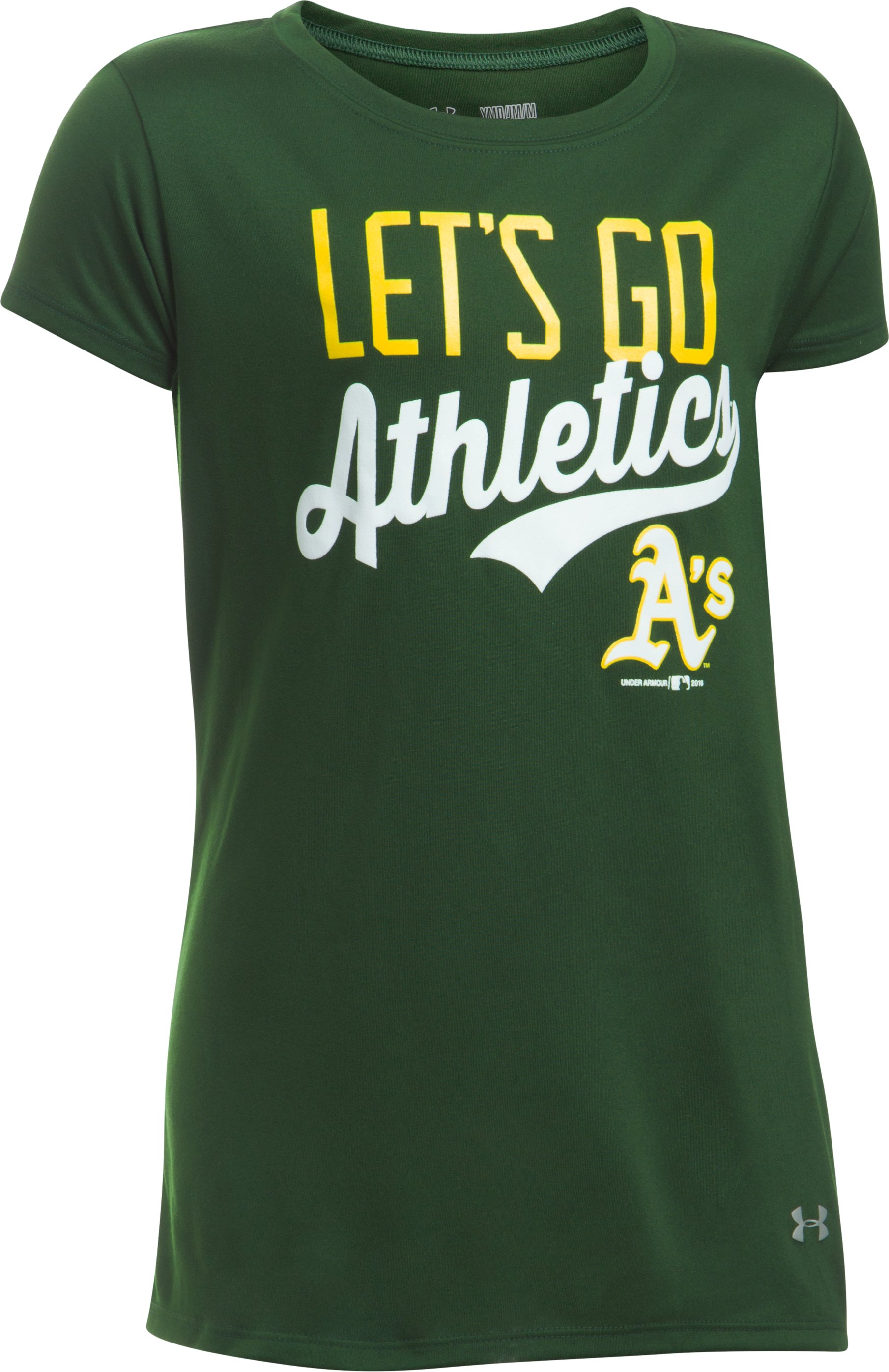 Girls' Oakland Athletics UA Tech™ T-Shirt, Forest Green,