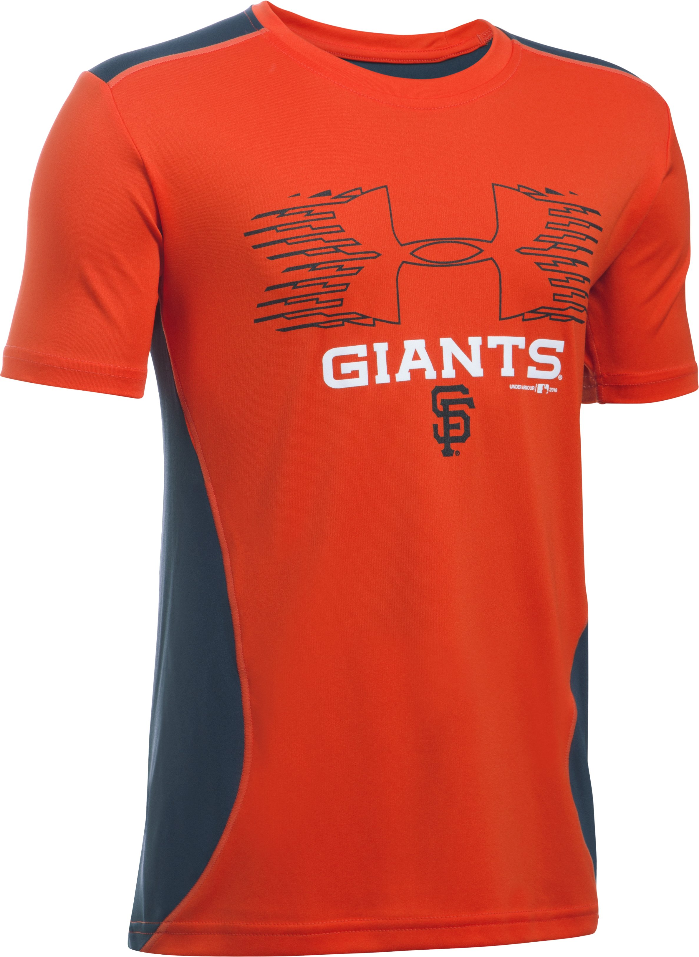 Boys' San Francisco Giants UA Tech™ Blocked T-Shirt, Dark Orange,