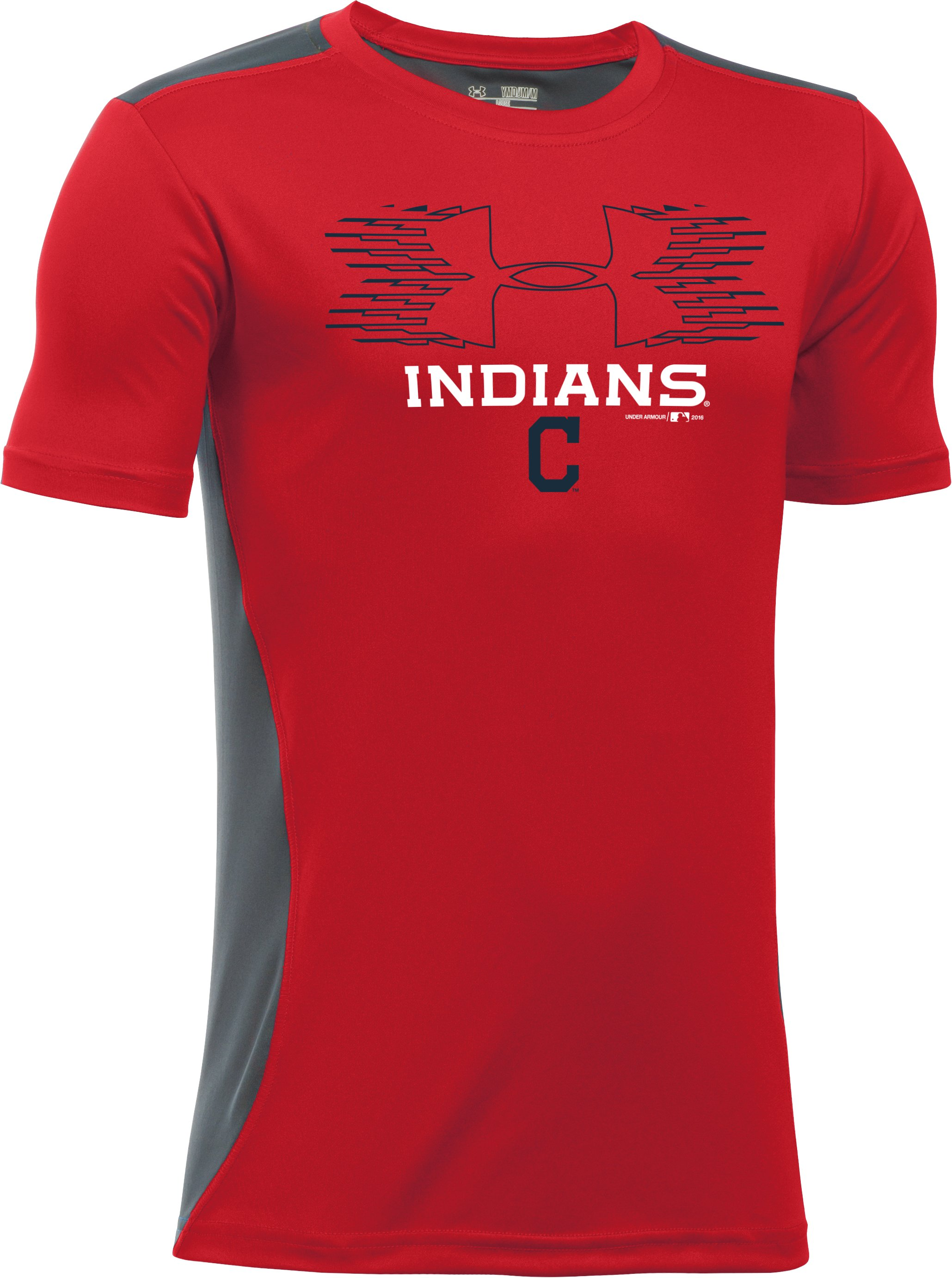Boys' Cleveland Indians UA Tech™ Blocked T-Shirt, Red, zoomed image