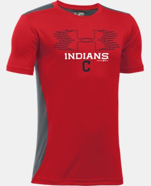New Arrival Boys' Cleveland Indians UA Tech™ Blocked T-Shirt   $26.99