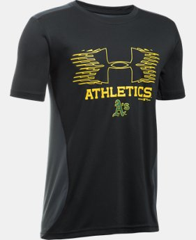New Arrival Boys' Oakland Athletics UA Tech™ Blocked T-Shirt   $26.99