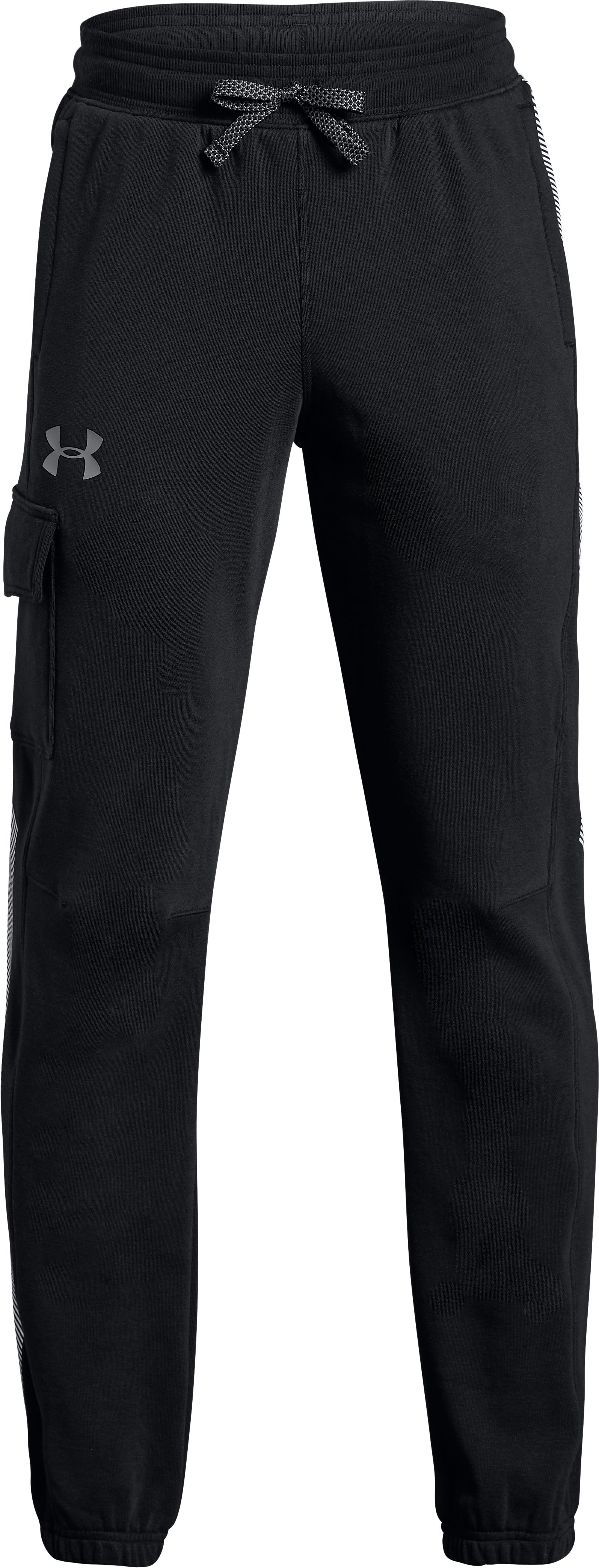 Boys' UA Threadborne Terry ¾ Pants, Black , zoomed