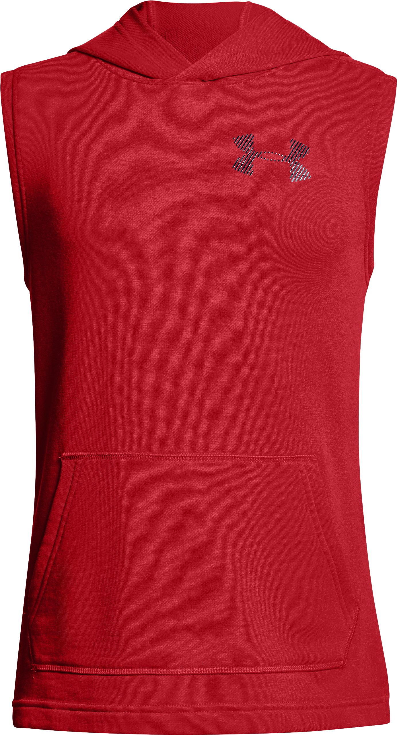 Boys' UA Microthread Terry Sleeveless Hoodie, Red,
