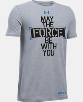 New Arrival Boys' UA Star Wars Force Be With You T-Shirt   $24.99