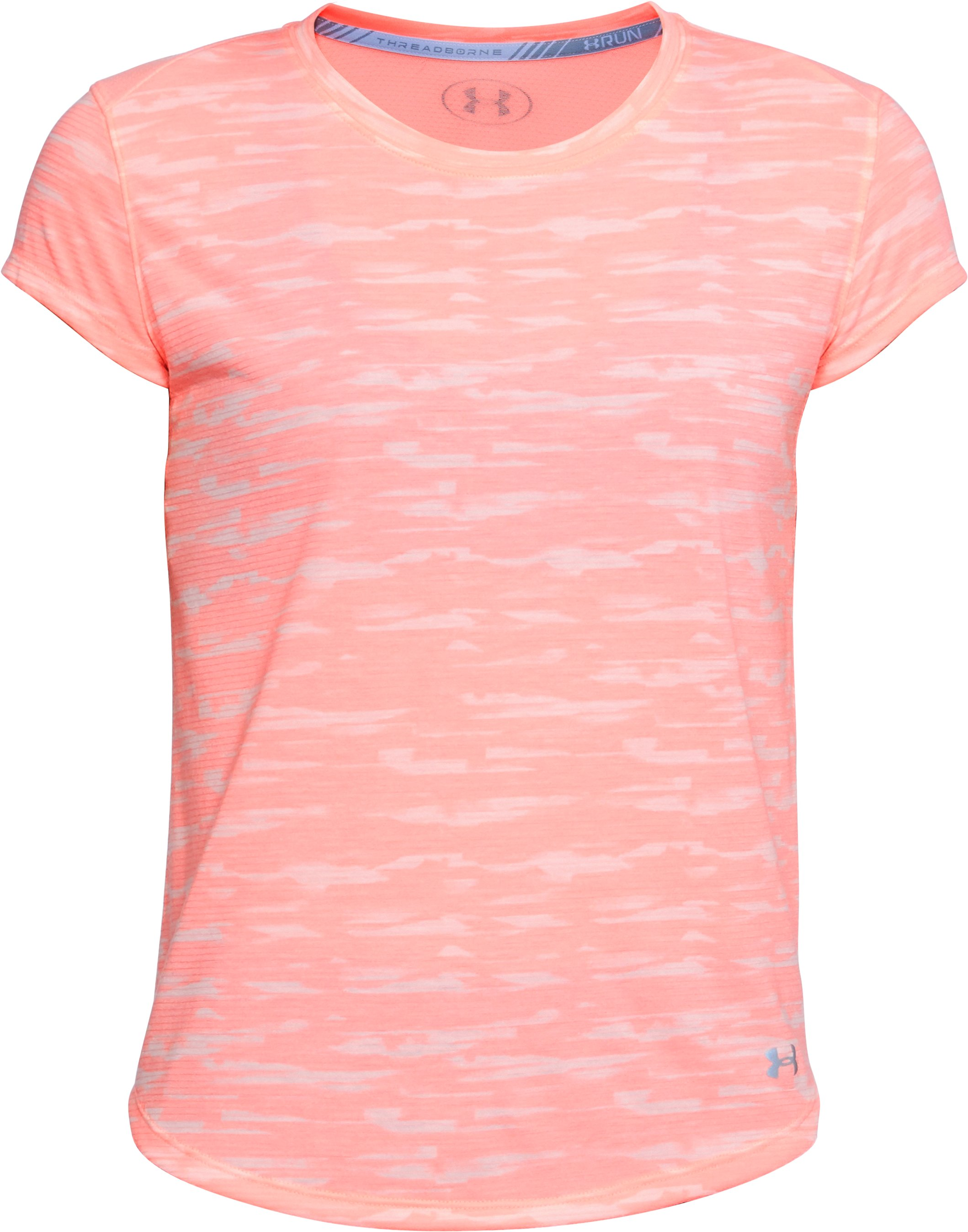 Women's UA Threadborne™ Run Mesh Printed Short Sleeve, CAPE CORAL,