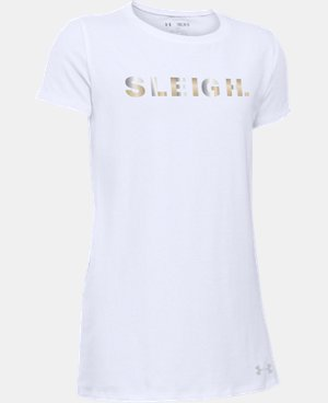 New Arrival Girls' UA Holiday Sleigh T-Shirt  1 Color $19.99