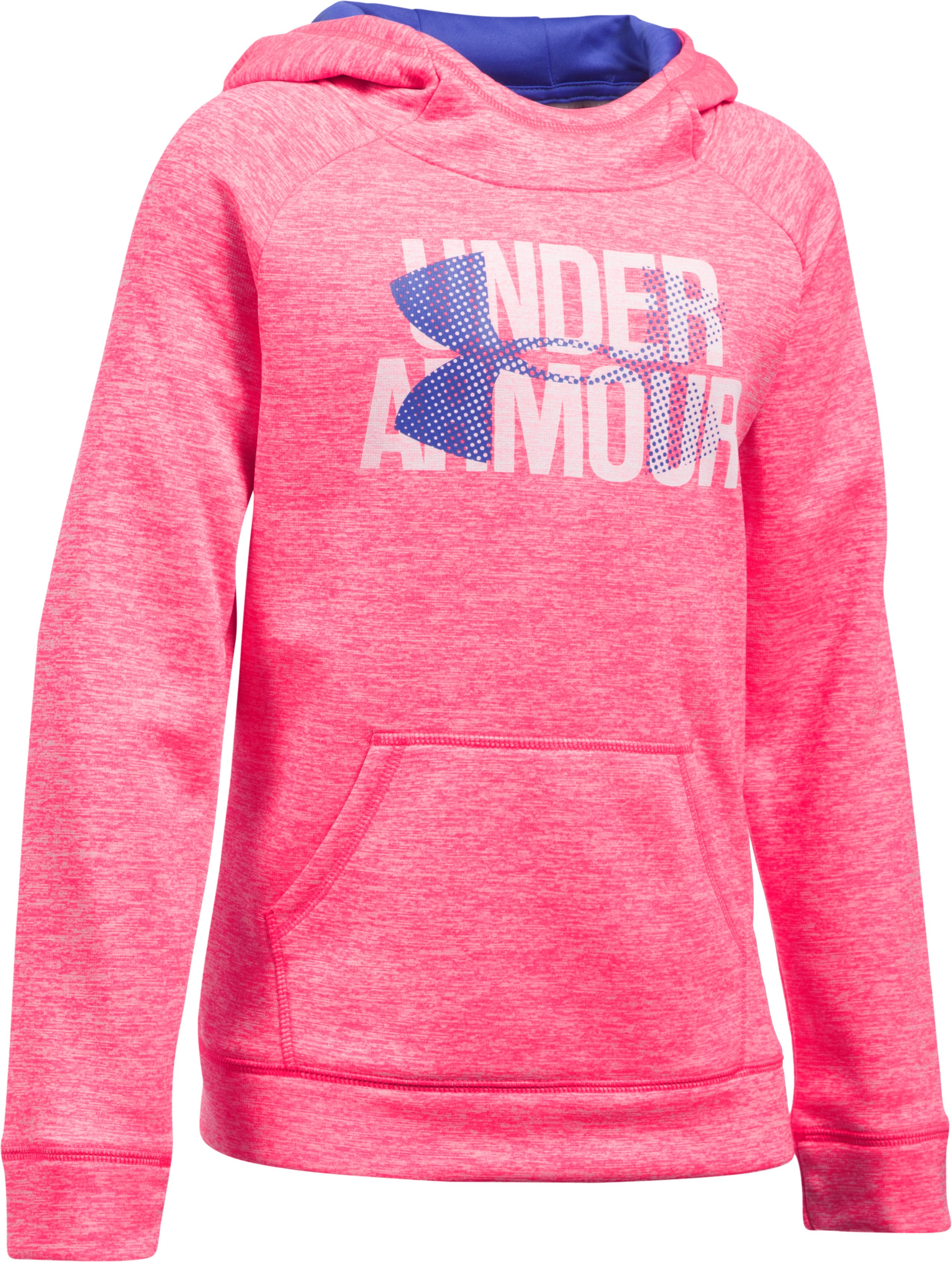 Girls' UA Armour® Fleece Big Logo Printed Hoodie, PENTA PINK