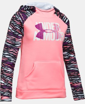 Girls' UA Armour® Fleece Big Logo Printed Hoodie LIMITED TIME OFFER 2 Colors $29.99