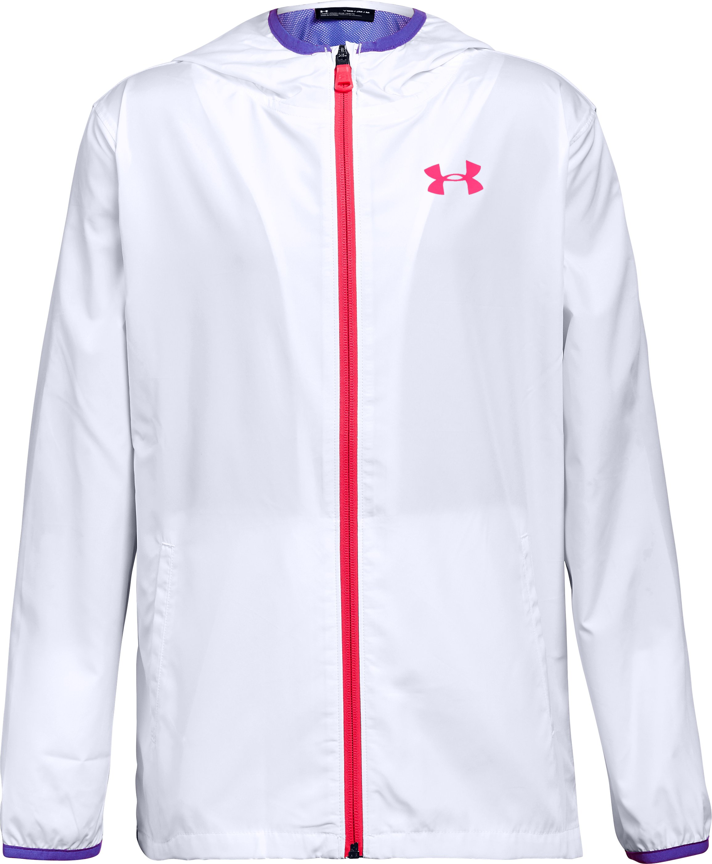 Girls' UA Sackpack Jacket, White,