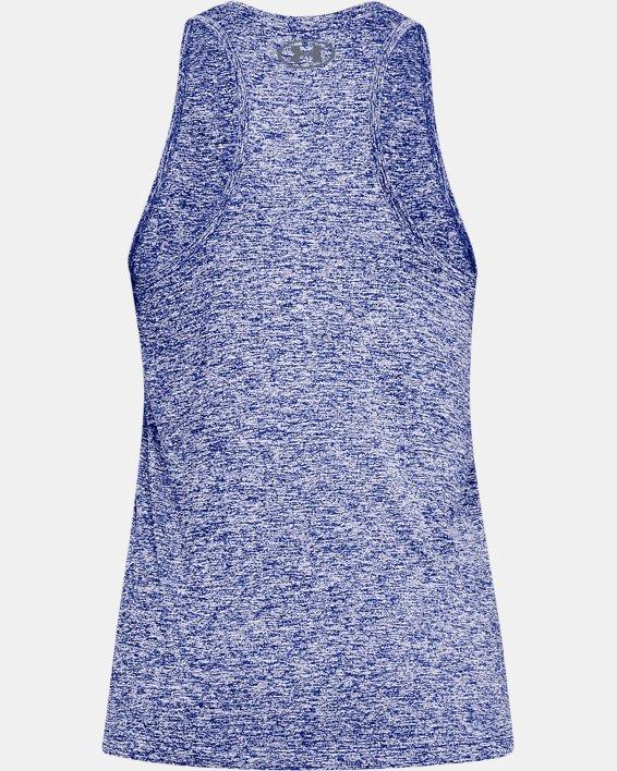 Women's UA Tech™ Graphic Twist Tank, Blue, pdpMainDesktop image number 4