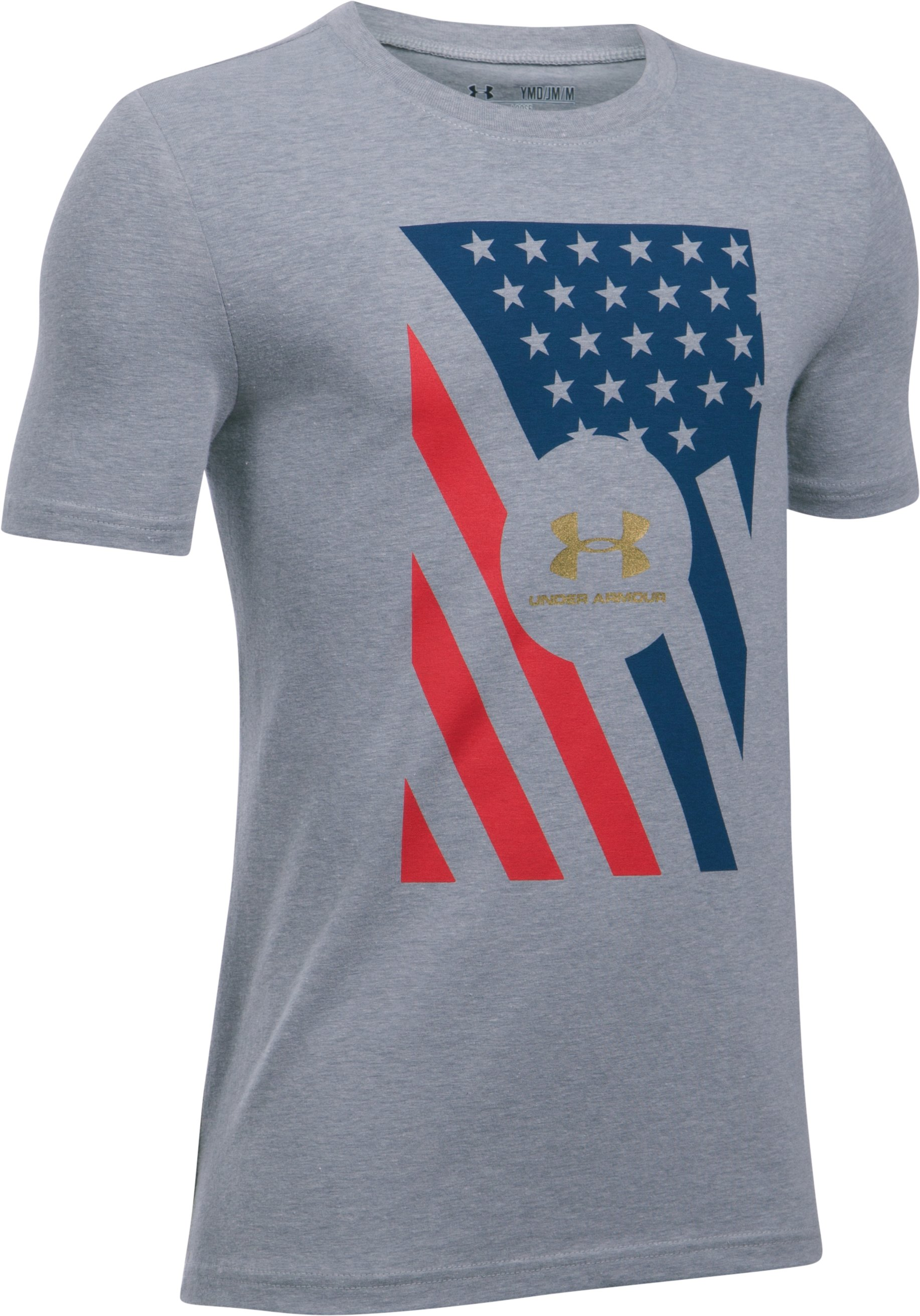 Boys' UA Americana USA T-Shirt, STEEL LIGHT HEATHER, undefined