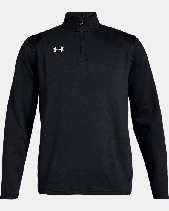Men's UA Hustle Fleece ¼ Zip, Black, pdpMainDesktop image number 4