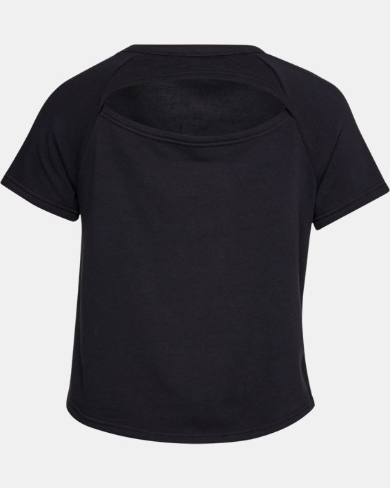 Women's UA Microthread Terry Short Sleeve, Black, pdpMainDesktop image number 4