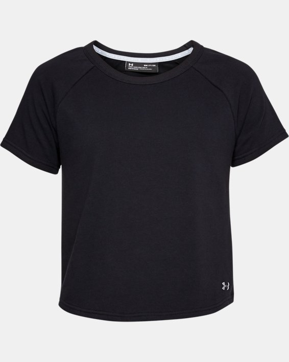 Women's UA Microthread Terry Short Sleeve, Black, pdpMainDesktop image number 3