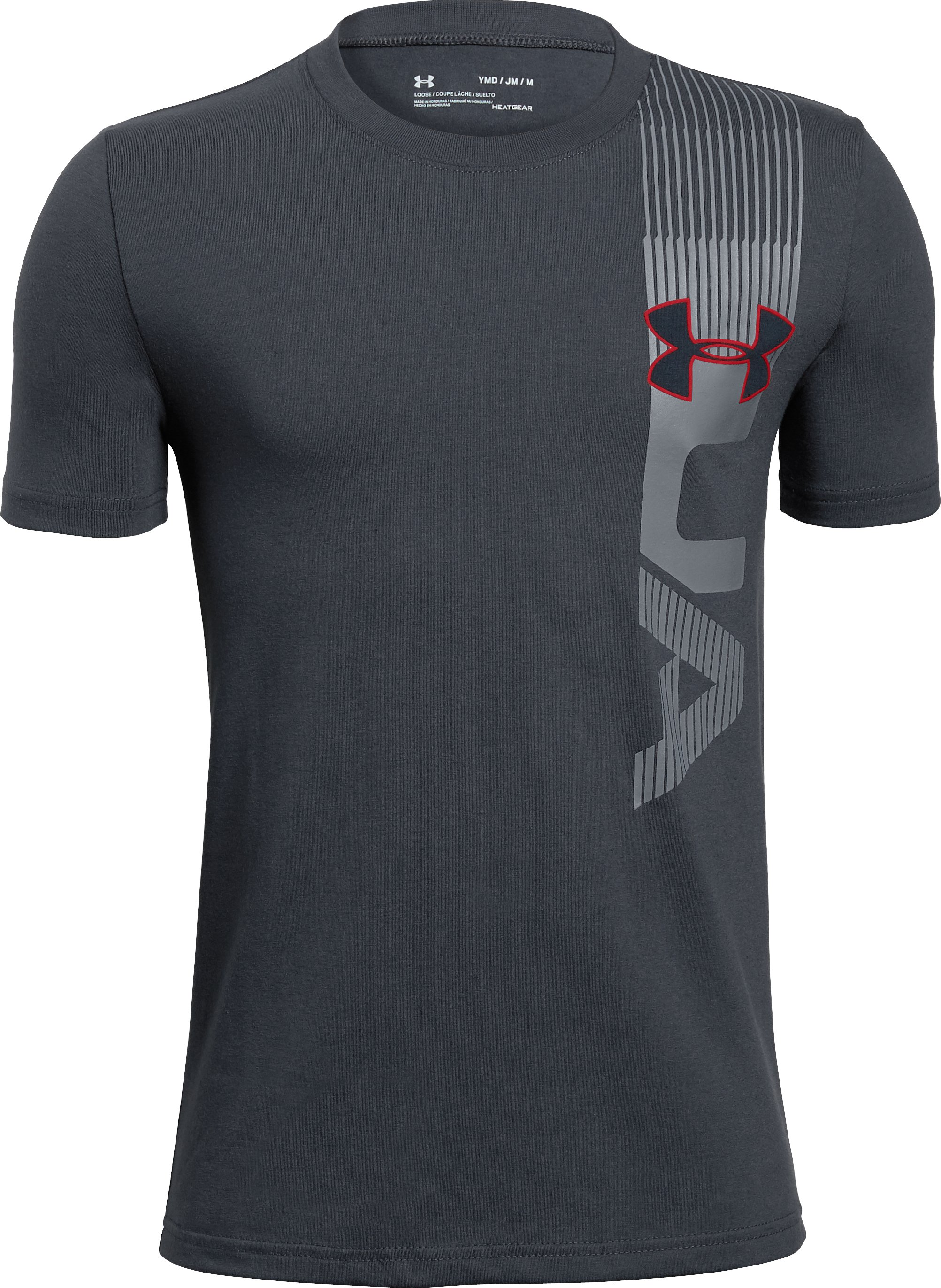 Boys' UA One Sided T-Shirt, STEALTH GRAY