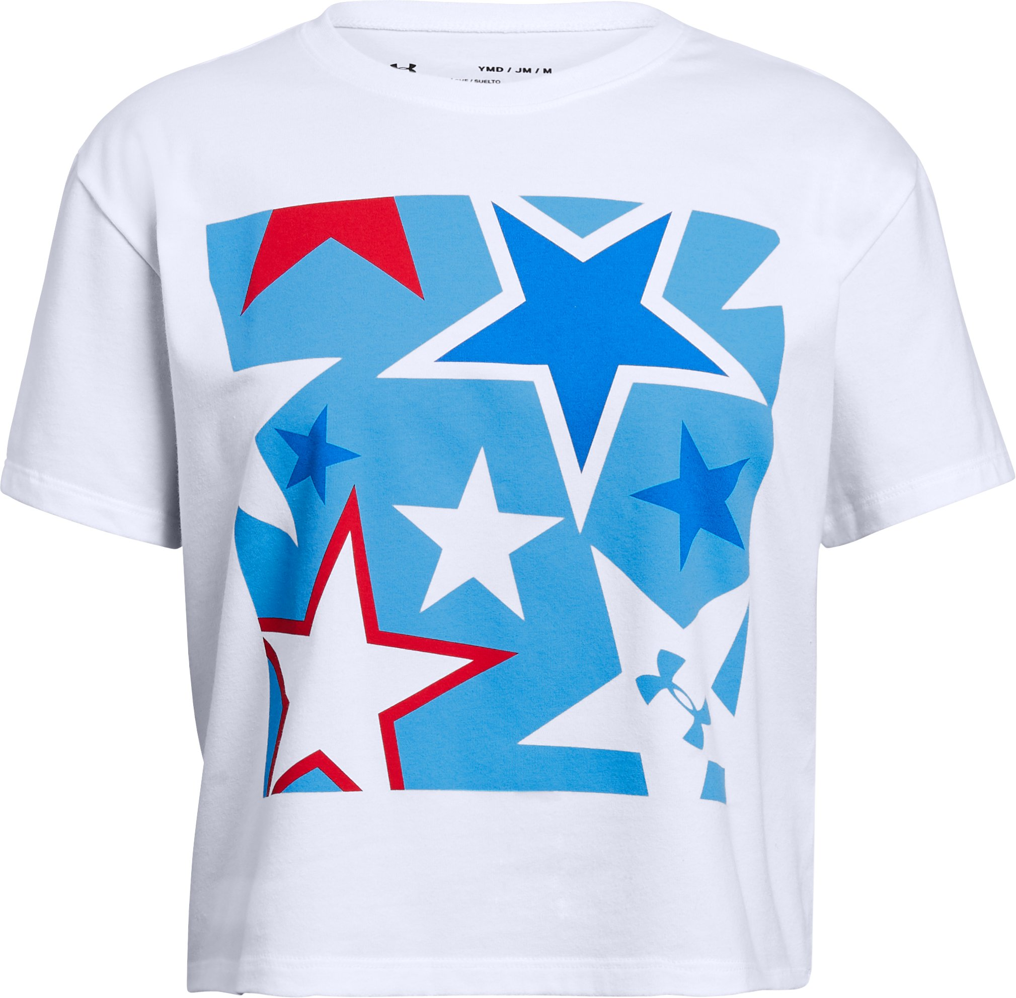 Girls' UA Americana Stars Crop T, White, undefined