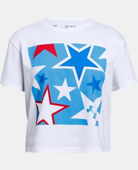 Girls' UA Americana Stars Crop T  1  Color Available $20