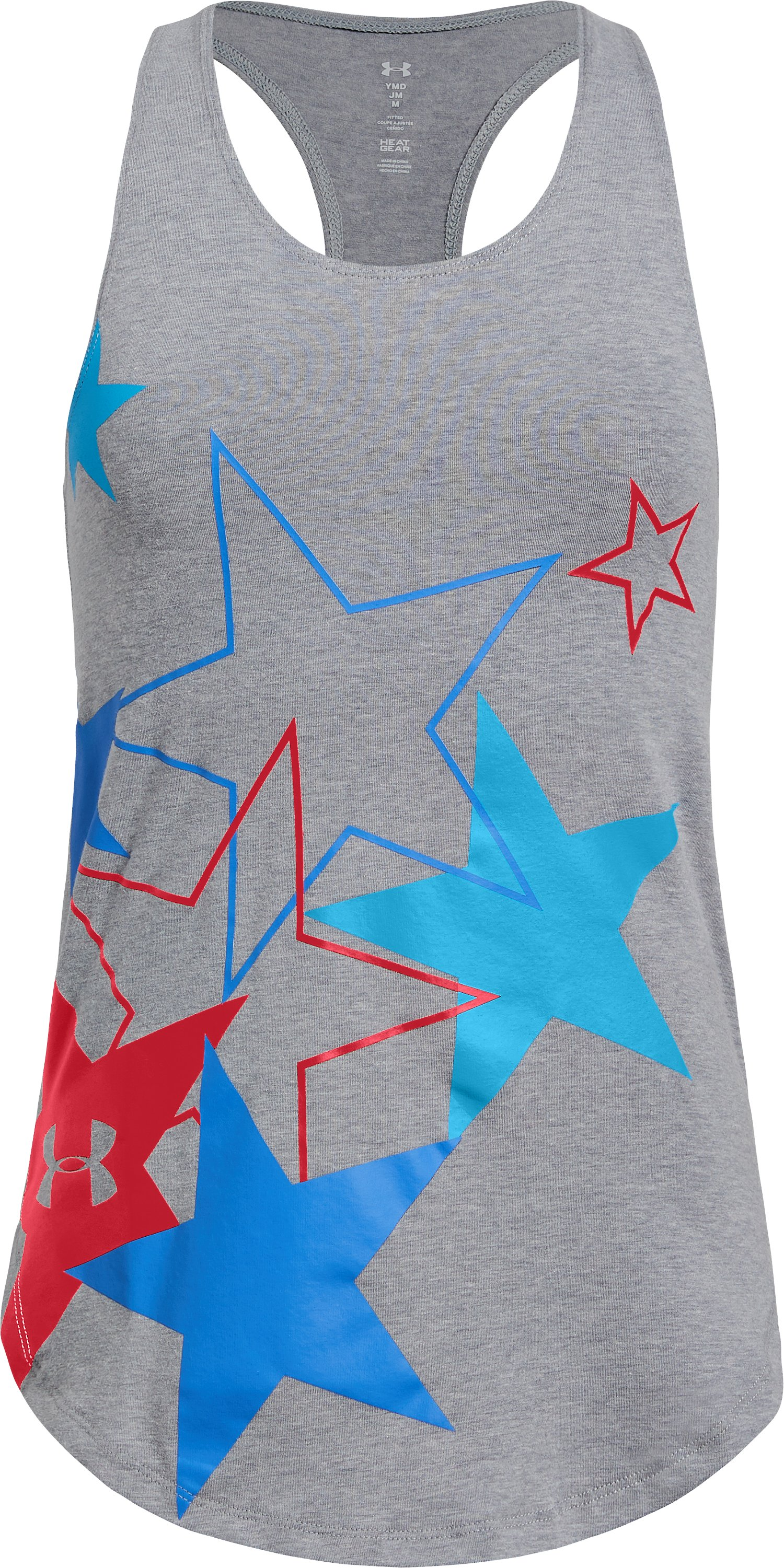 Girls' UA Americana Stars Tank, STEEL LIGHT HEATHER,