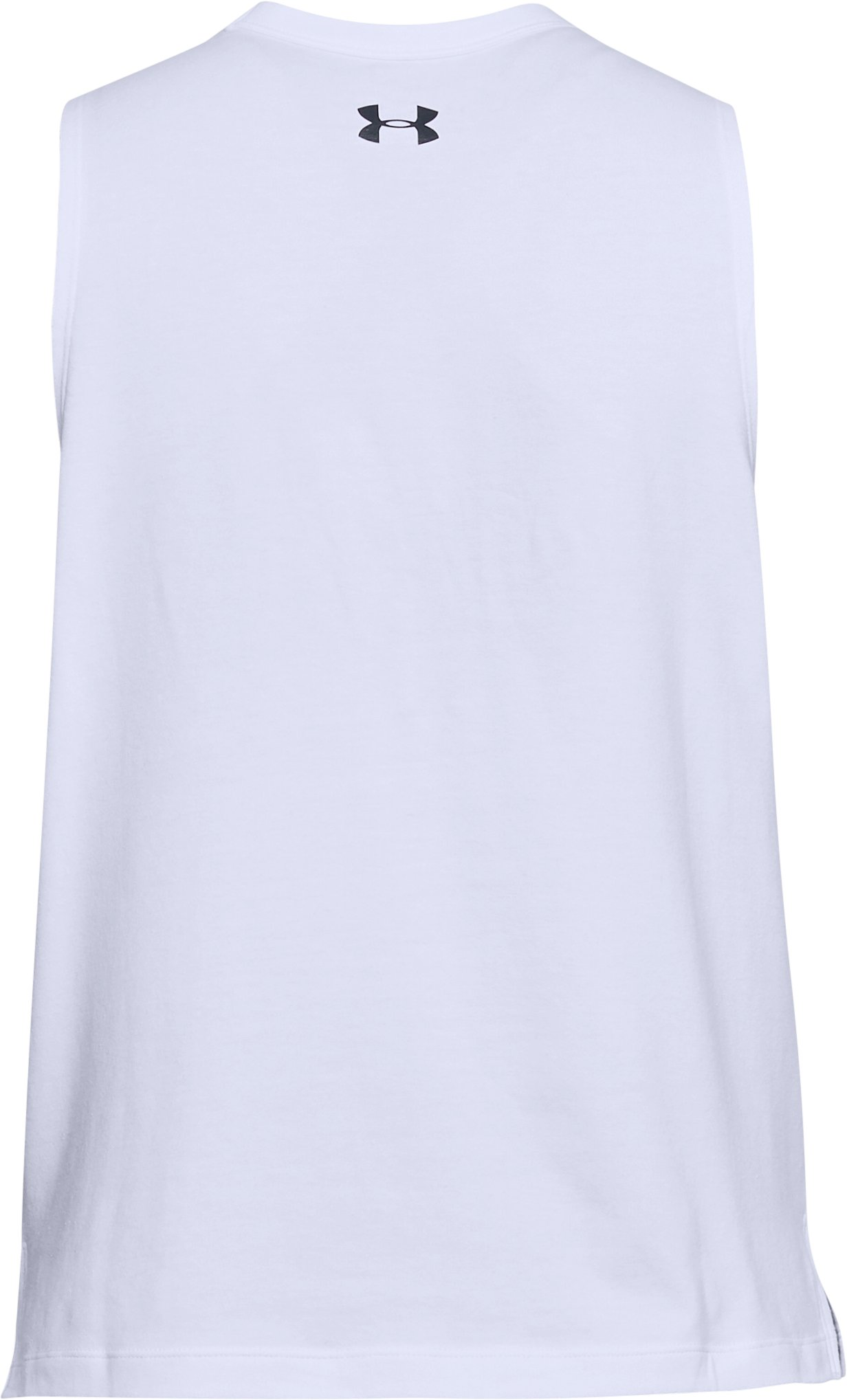 Women's UA Overlay Logo Muscle Tank, White, undefined