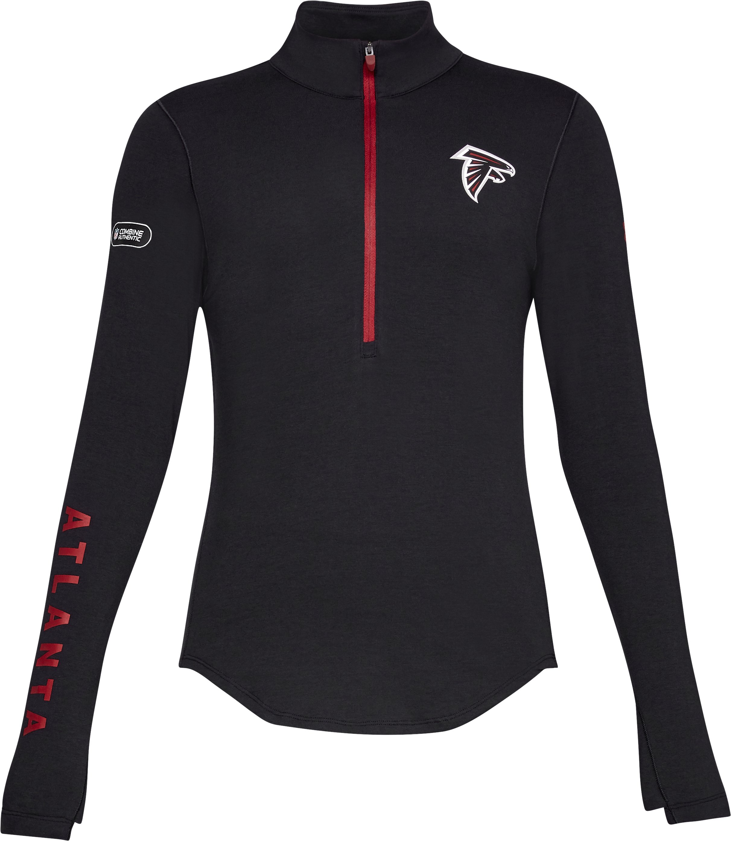 Women's NFL Combine Authentic UA Favorite ½ Zip Long Sleeve Shirt, NFL_Atlanta Falcons_Black,