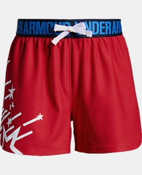 Girls' UA Play Up Americana Shorts  1  Color Available $25