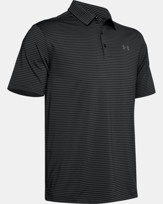 Men's UA Playoff Core Stripe Polo, Black, pdpMainDesktop image number 4
