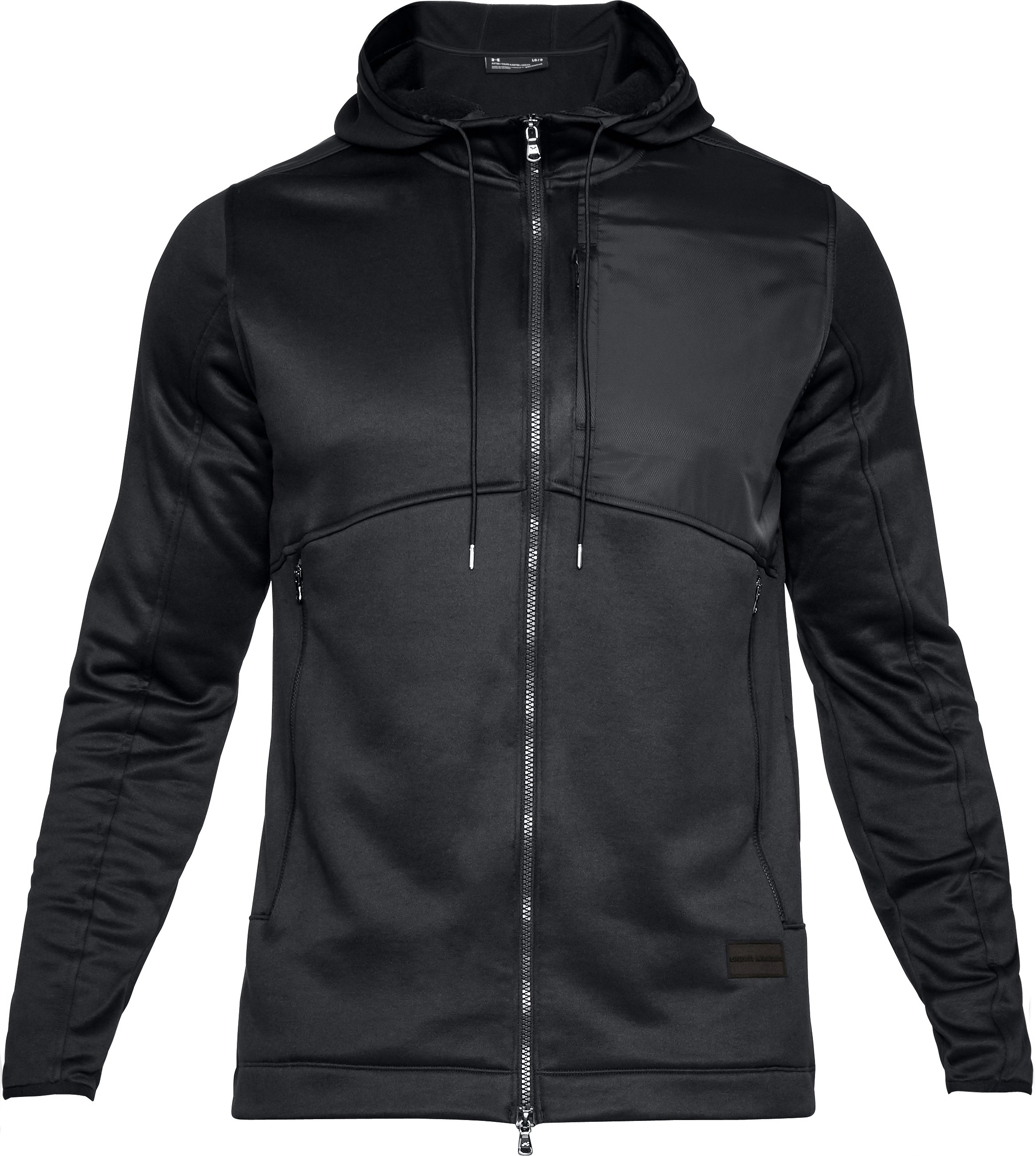 Men's UA Pursuit Stealth Full Zip Hoodie, Black ,
