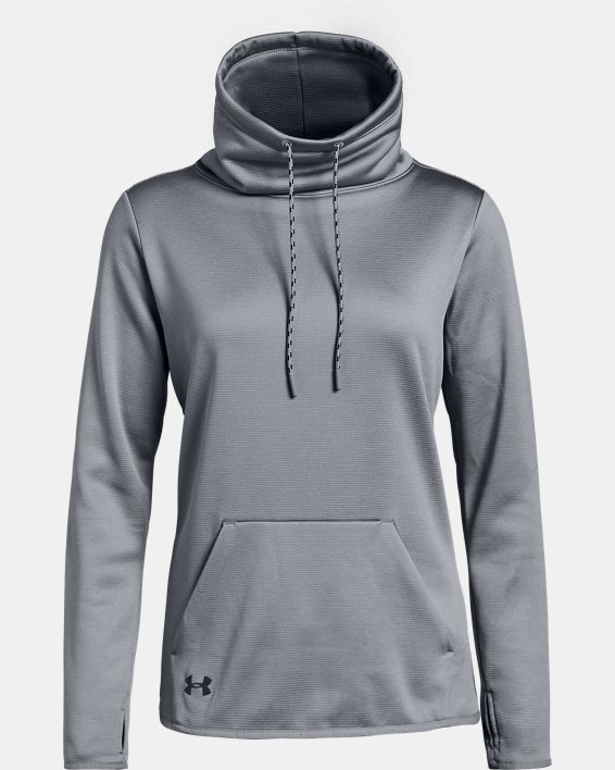 Women's Armour Fleece® Funnel Neck, Gray, pdpMainDesktop image number 3