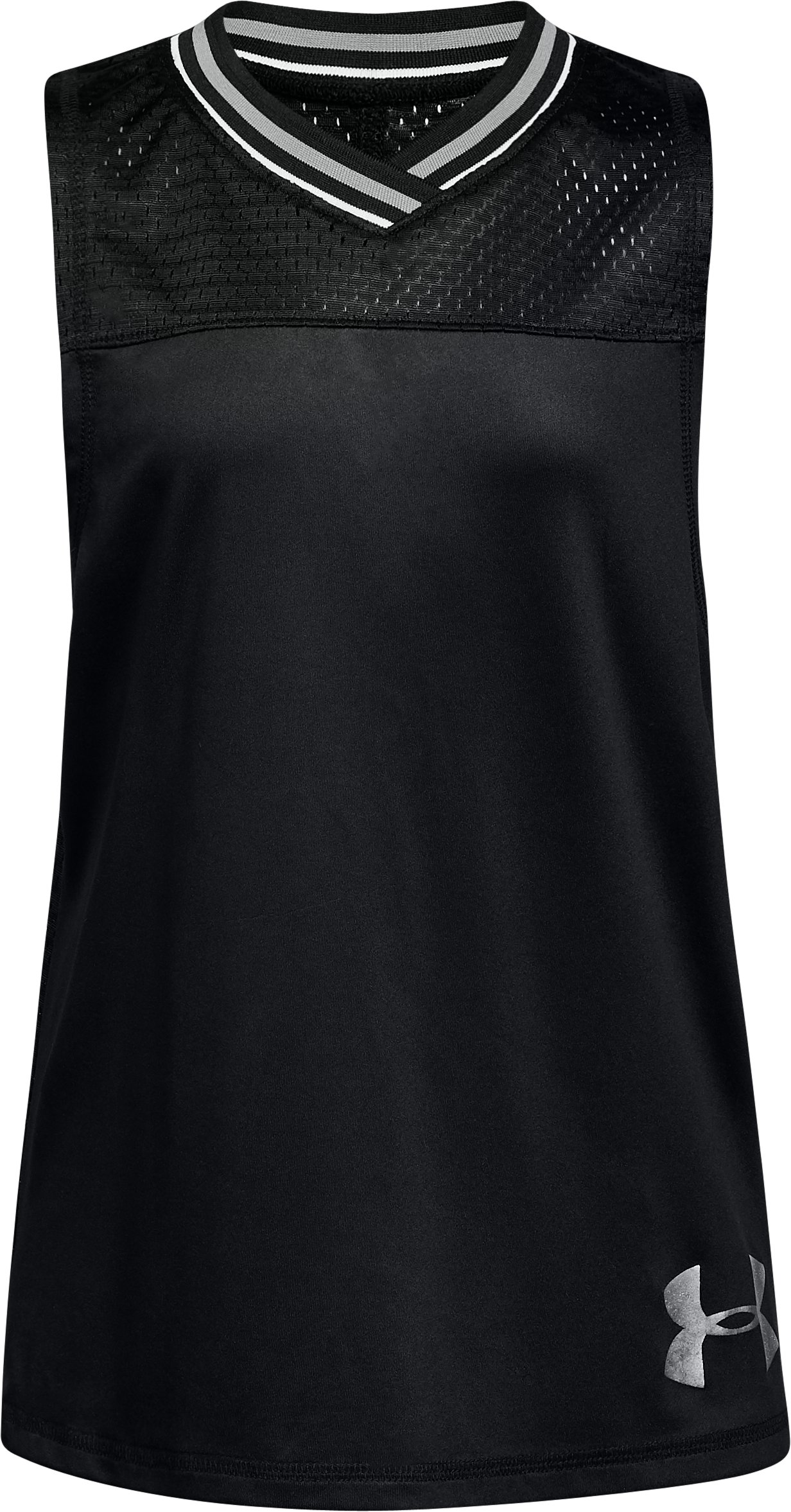 Girls' UA Varsity Mesh Tank, Black